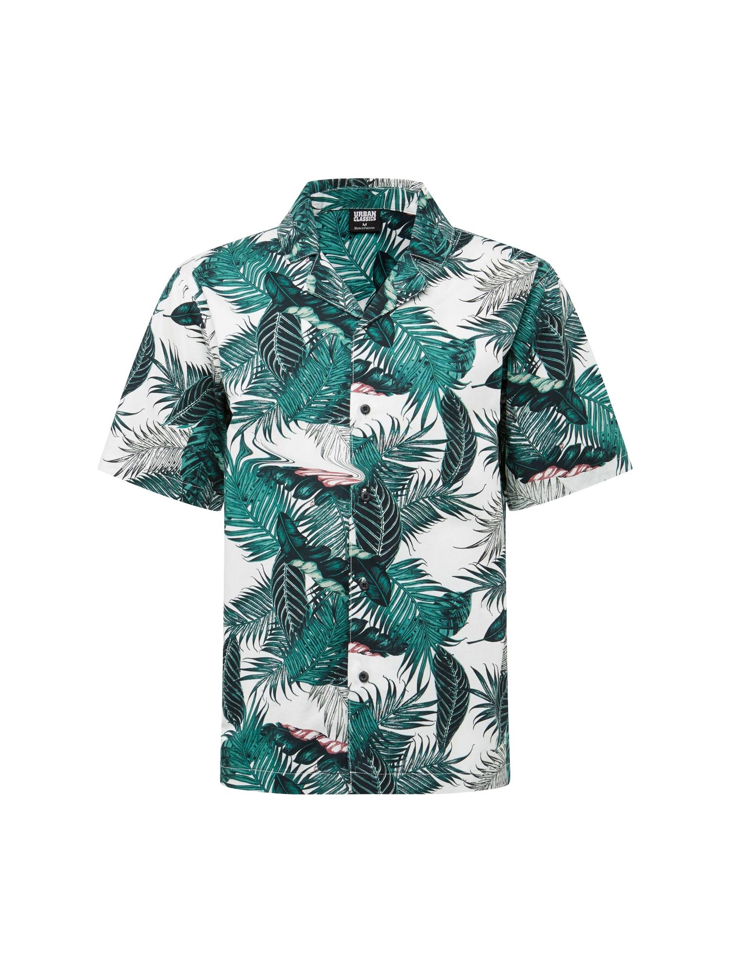 Košile Pattern Resort Shirt  petrolejová  bílá Urban Classics
