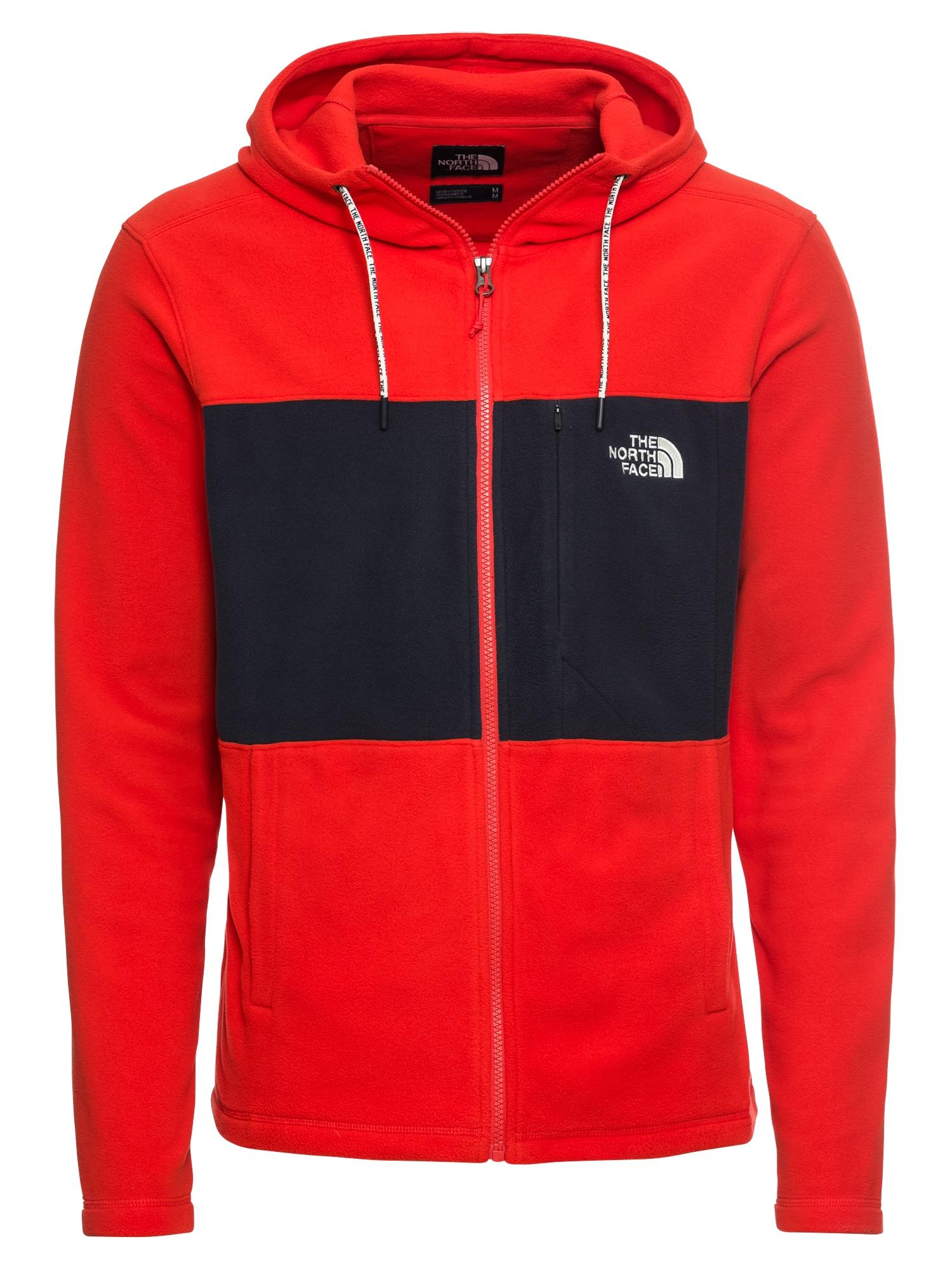 Mikina s kapucí tmavě modrá ohnivá červená THE NORTH FACE