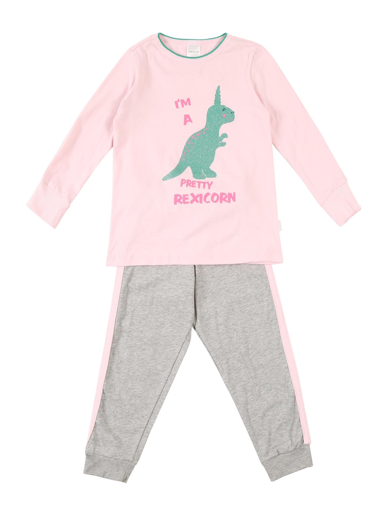 Pyžamo šedá růžová SCHIESSER