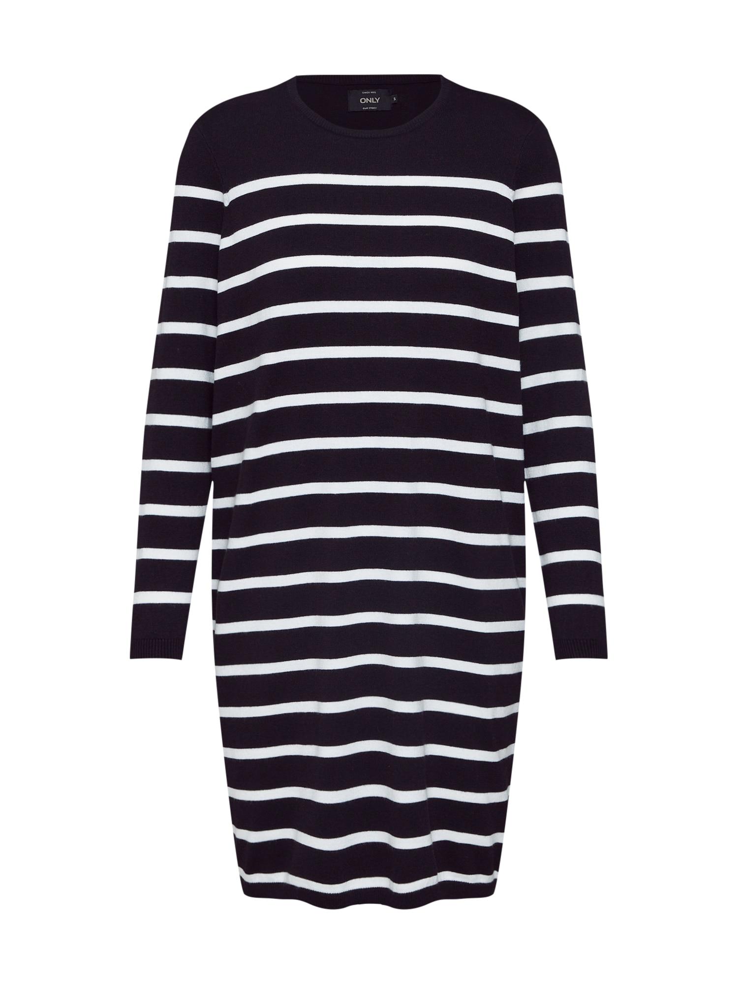 Šaty onlAYO LS DRESS KNT černá bílá ONLY