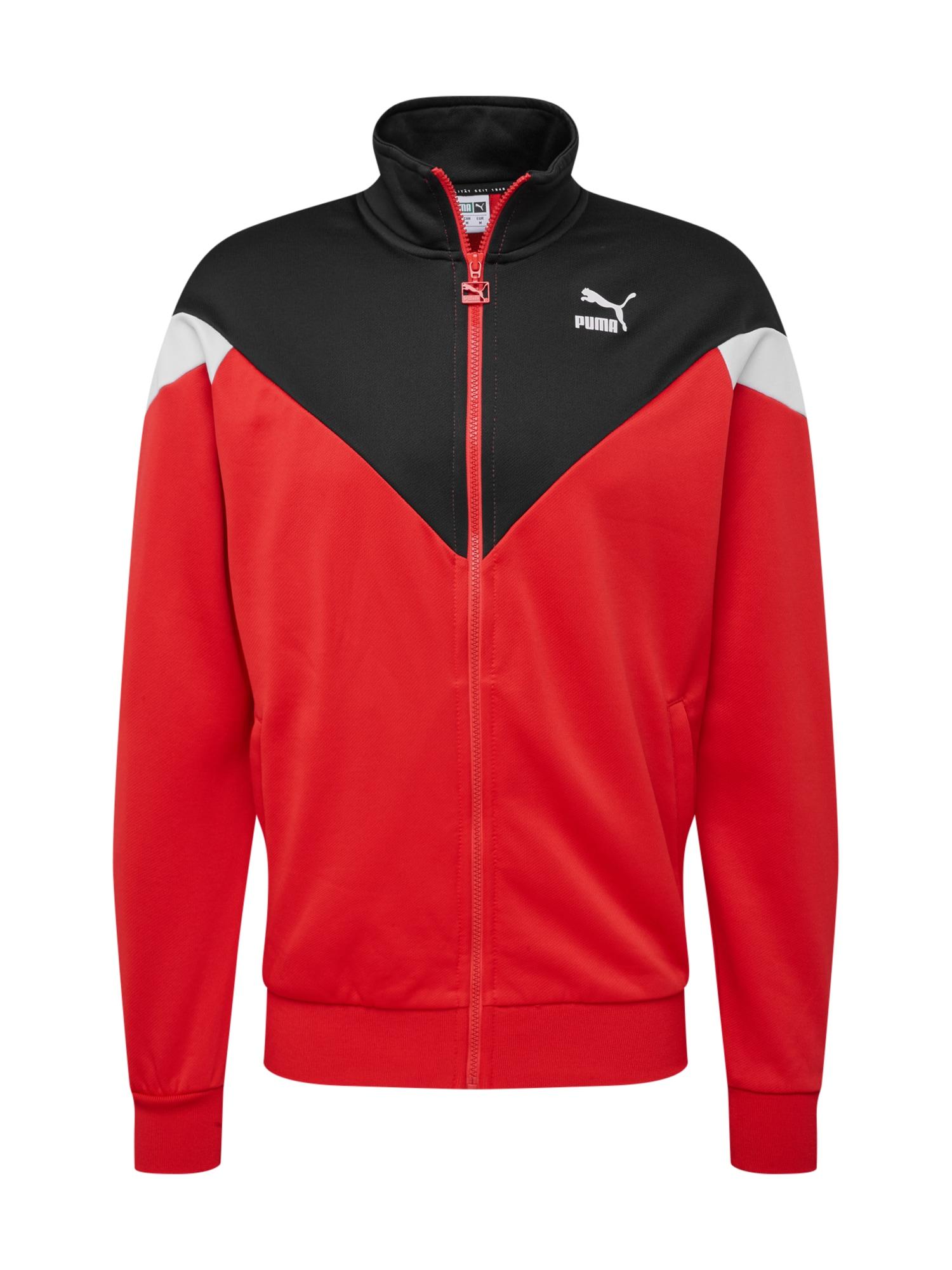 Mikina s kapucí Iconic MCS červená černá bílá PUMA
