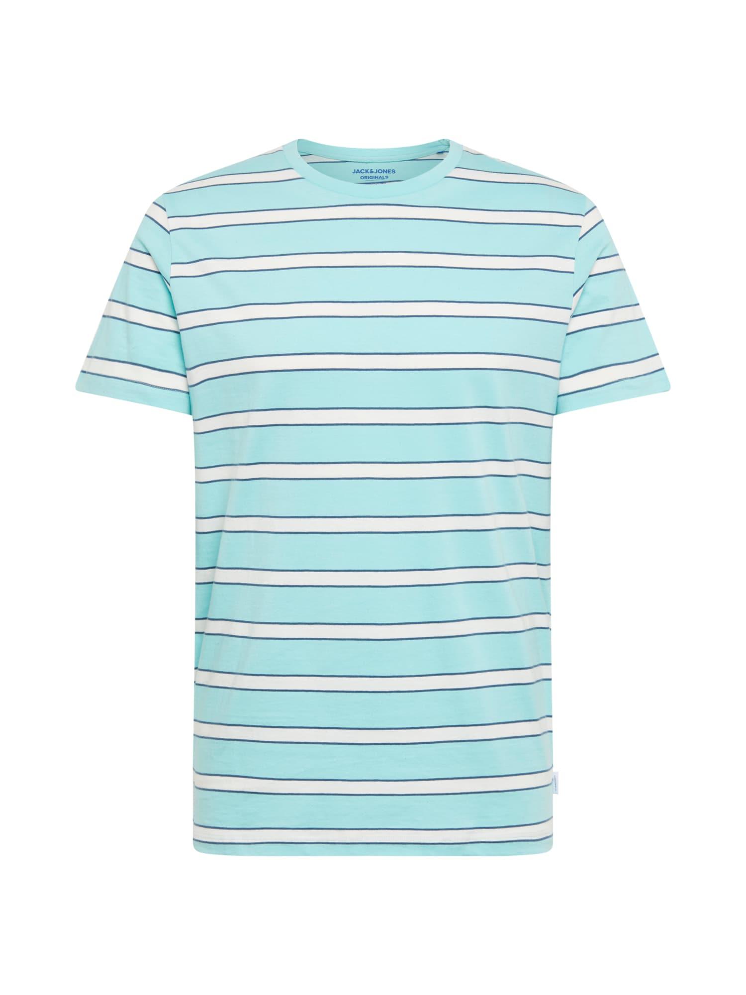 Tričko aqua modrá bílá JACK & JONES
