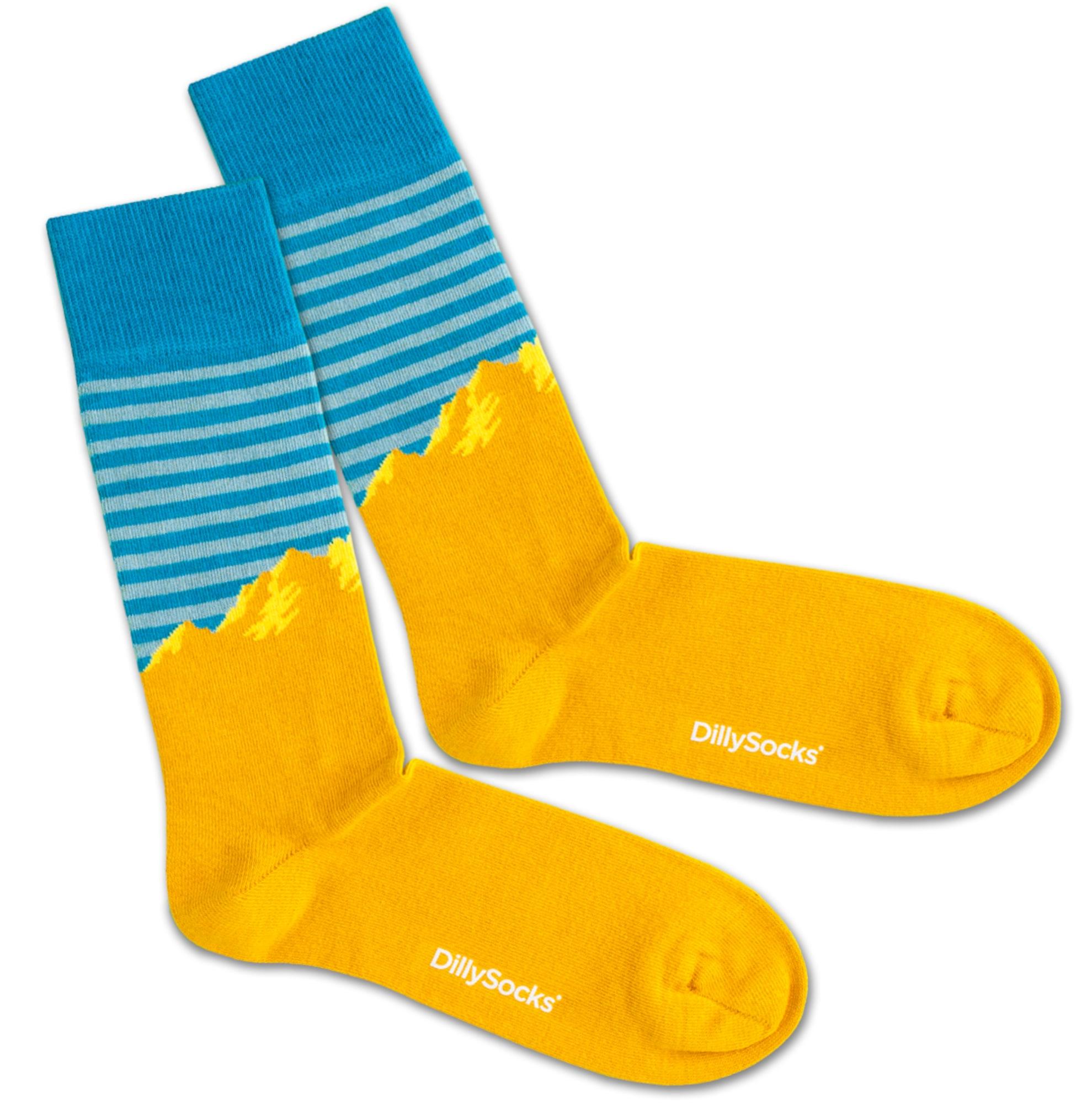 Ponožky Alpine Morning modrá zlatě žlutá DillySocks