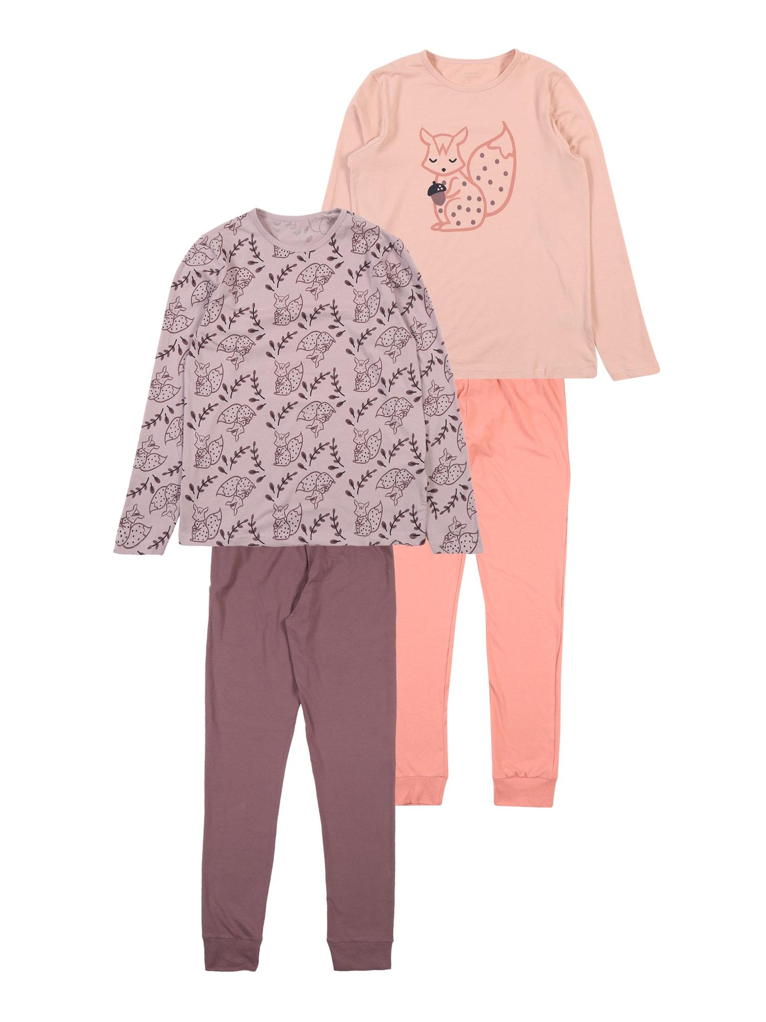 Pyžamo NKFLUCANA 2P NIGHTSET béžová fialová bledě fialová pink bílá NAME IT