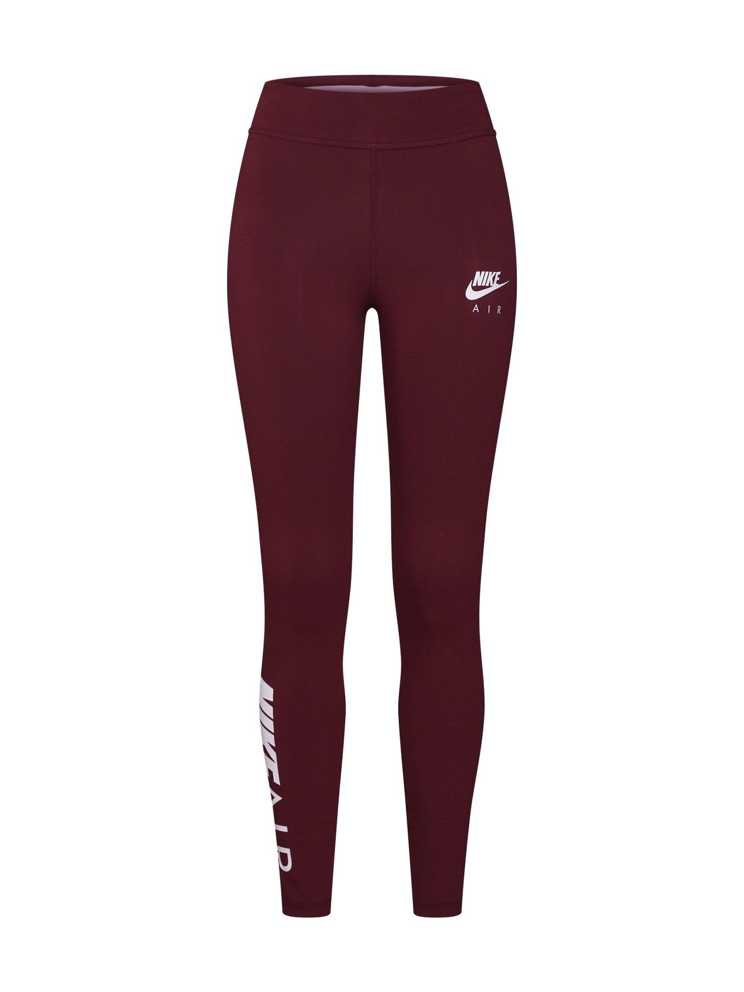 Legíny NSW AIR LGGNG vínově červená bílá Nike Sportswear
