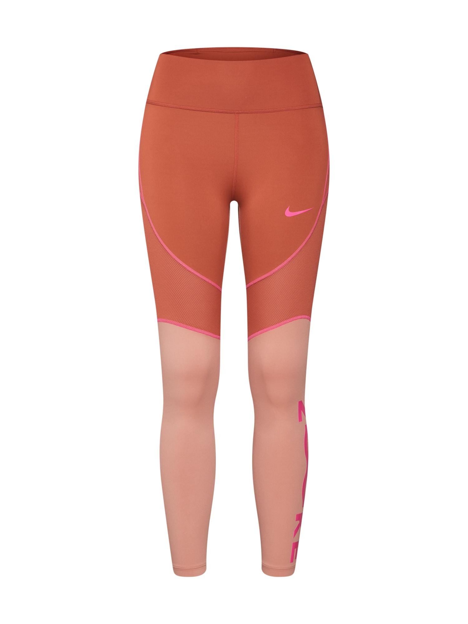 Sportovní kalhoty W NK ALL-IN 7_8 TGHT SD hnědá pink NIKE