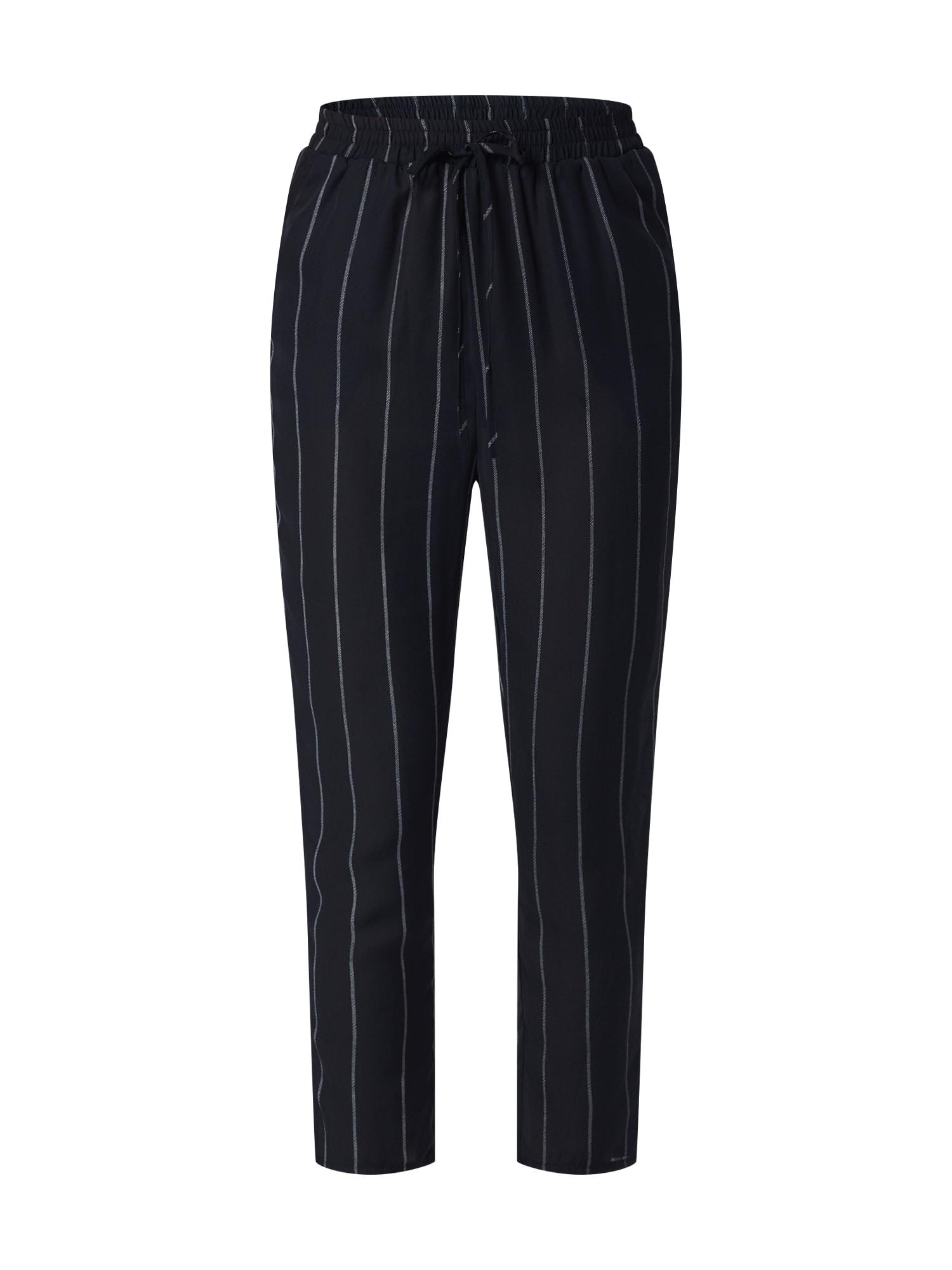 Kalhoty STRIPE TIE WAIST TROUSER černá přírodní bílá Missguided