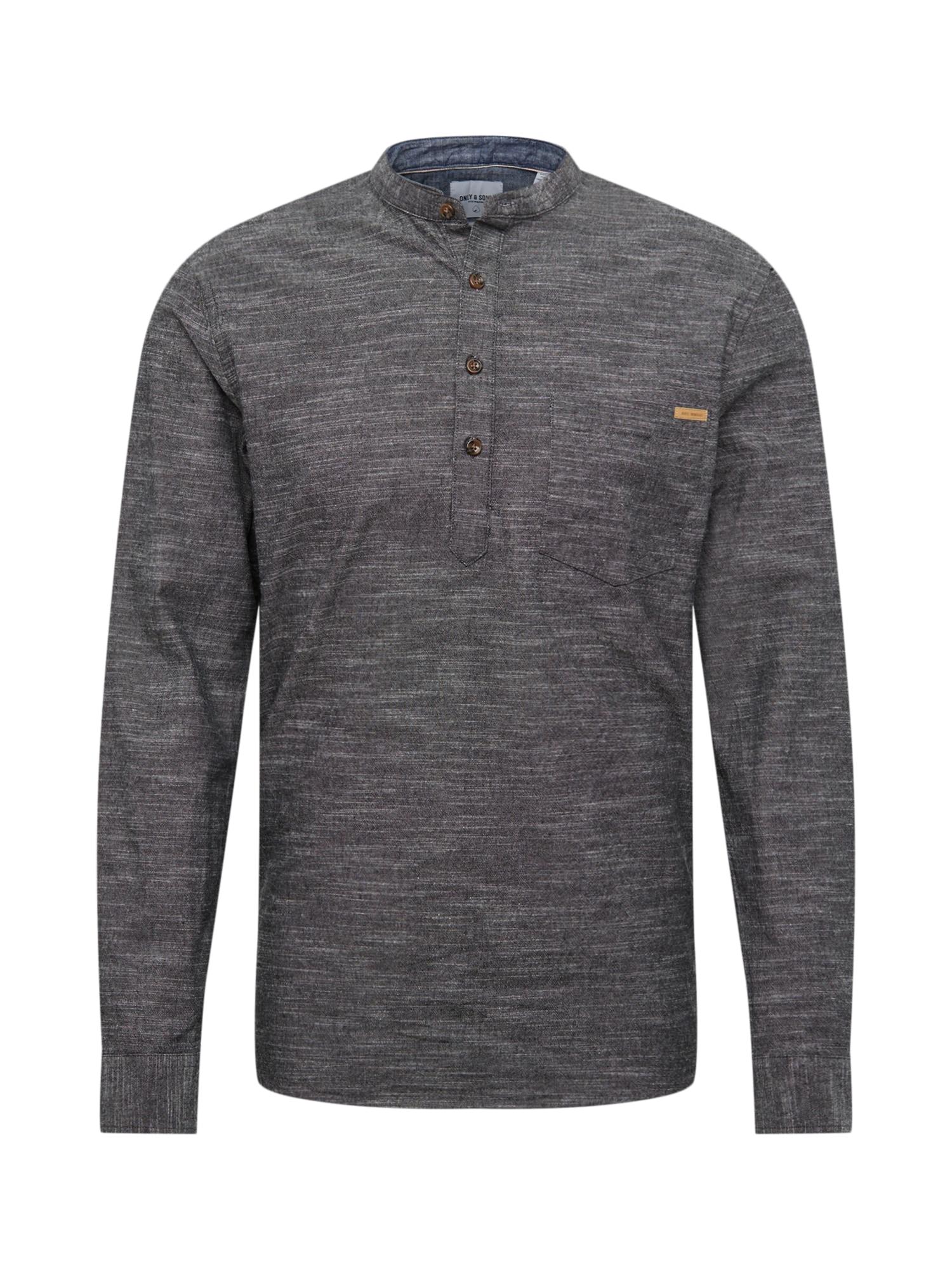 Košile onsTOBY LS HALFPLACKET SLUB čedičová šedá Only & Sons