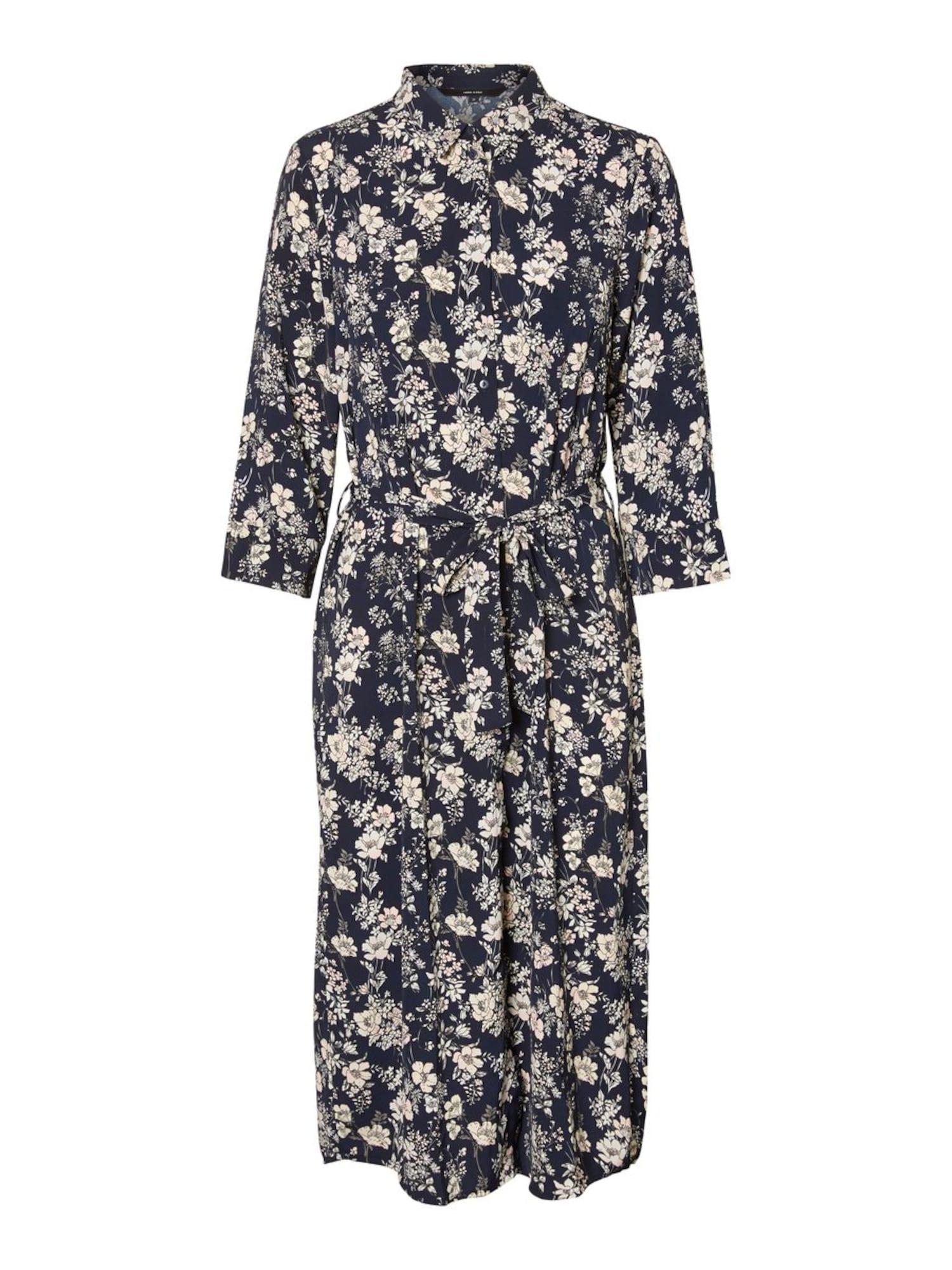 VERO MODA Košeľové šaty 'VMDIANA 3/4 CALF SHIRT DRESS WVN DA'  tmavomodrá