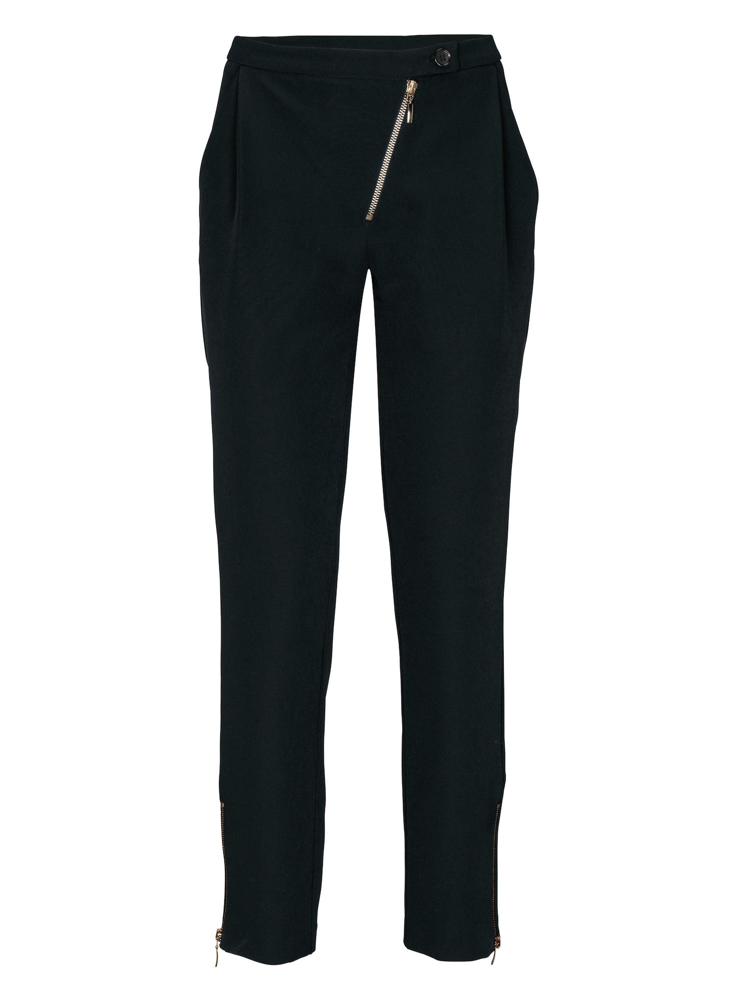 Kalhoty se sklady v pase černá Heine