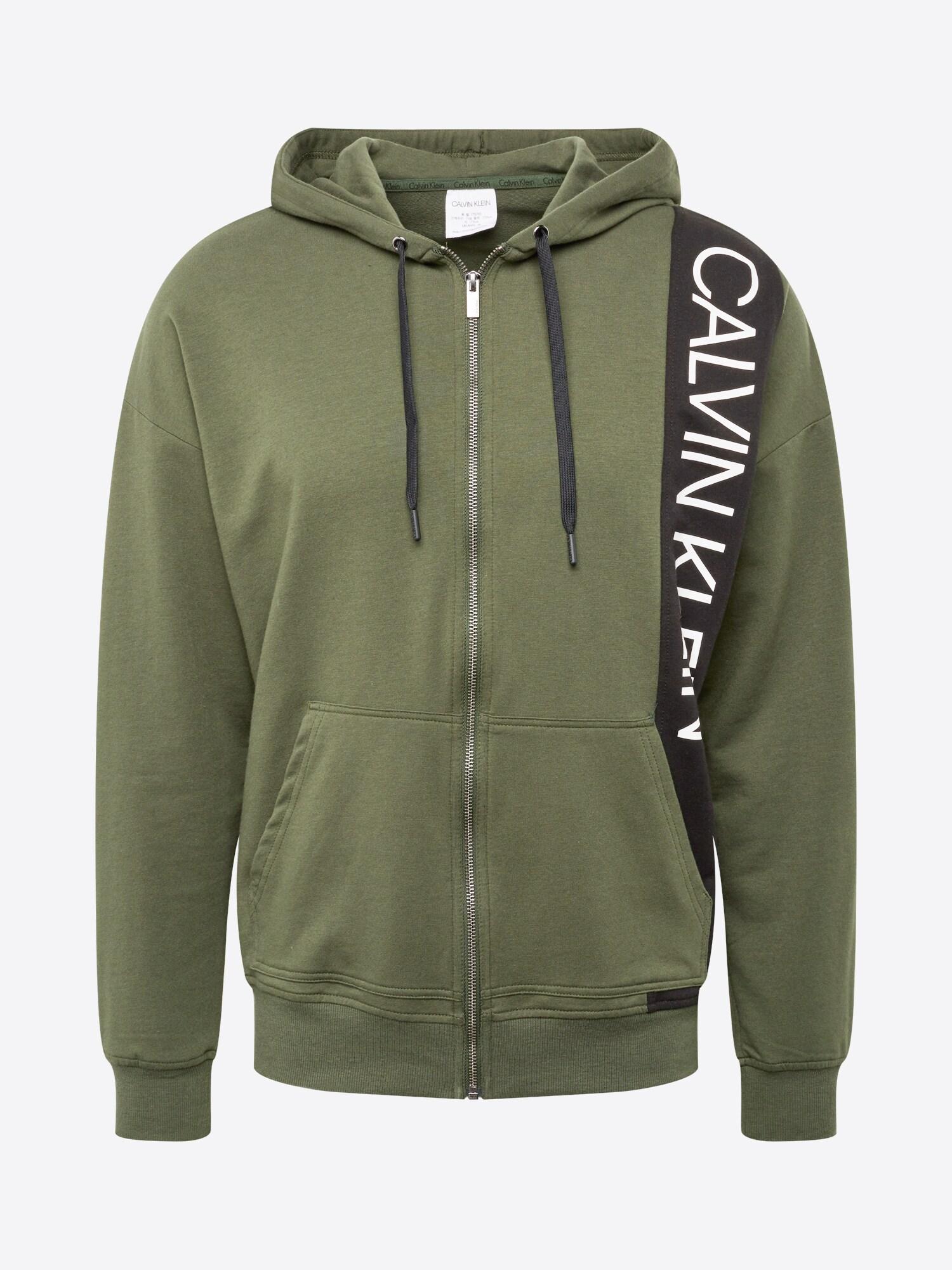 Mikina s kapucí khaki Calvin Klein Underwear
