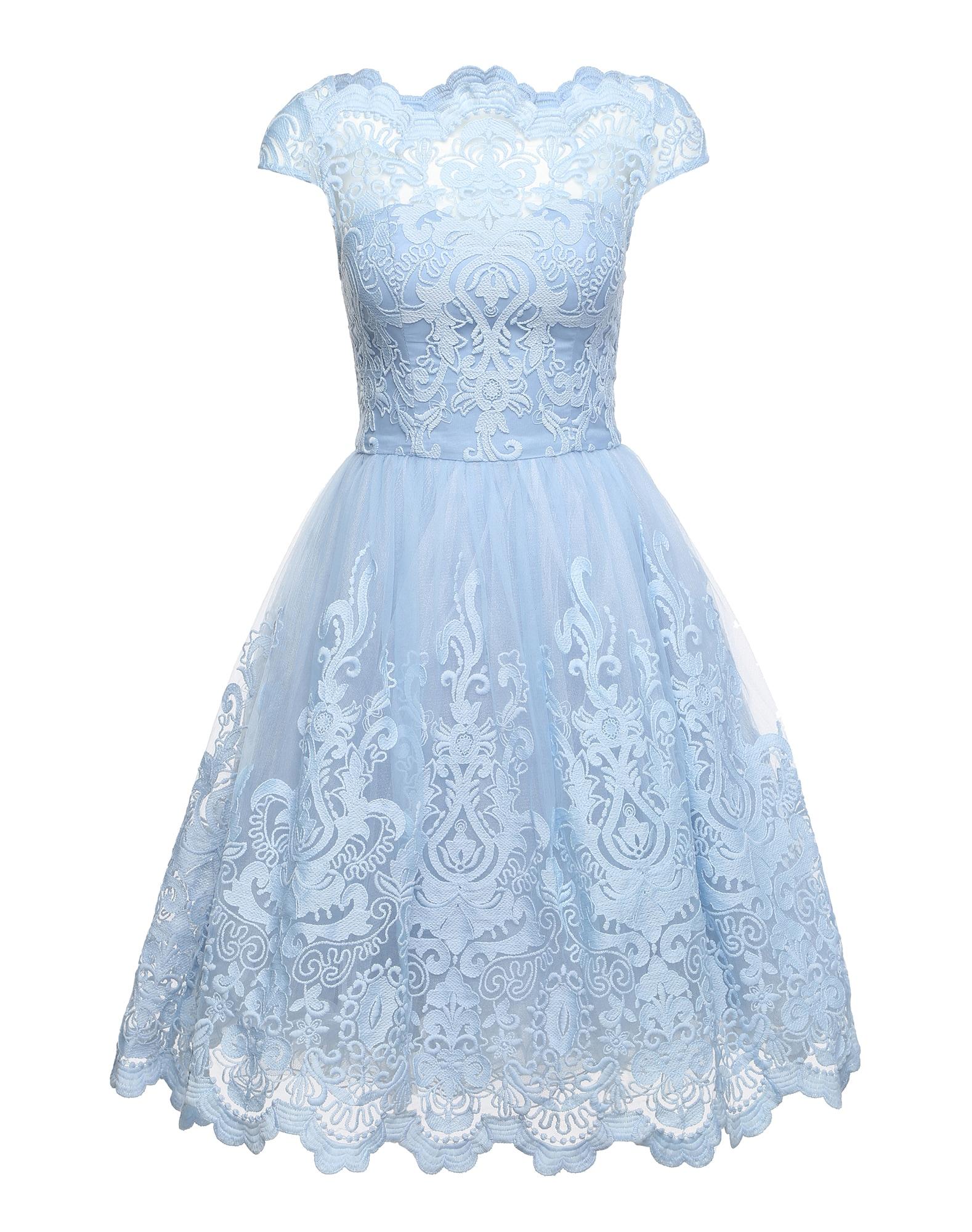 Koktejlové šaty RHIANNON DRESS světlemodrá Chi Chi London
