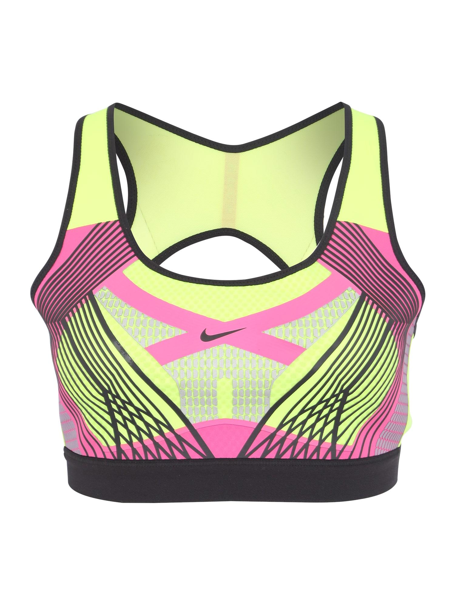 Sportovní podprsenka žlutá pink černá NIKE