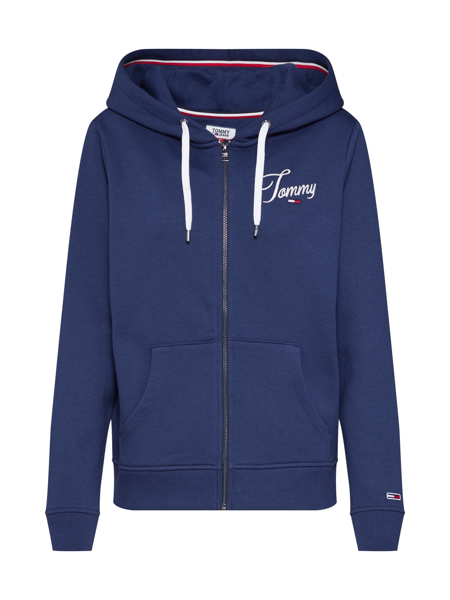 Mikina s kapucí kouřově modrá bílá Tommy Jeans