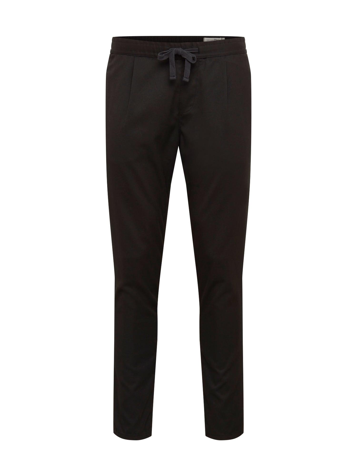TOM TAILOR DENIM Kalhoty se sklady v pase  černá