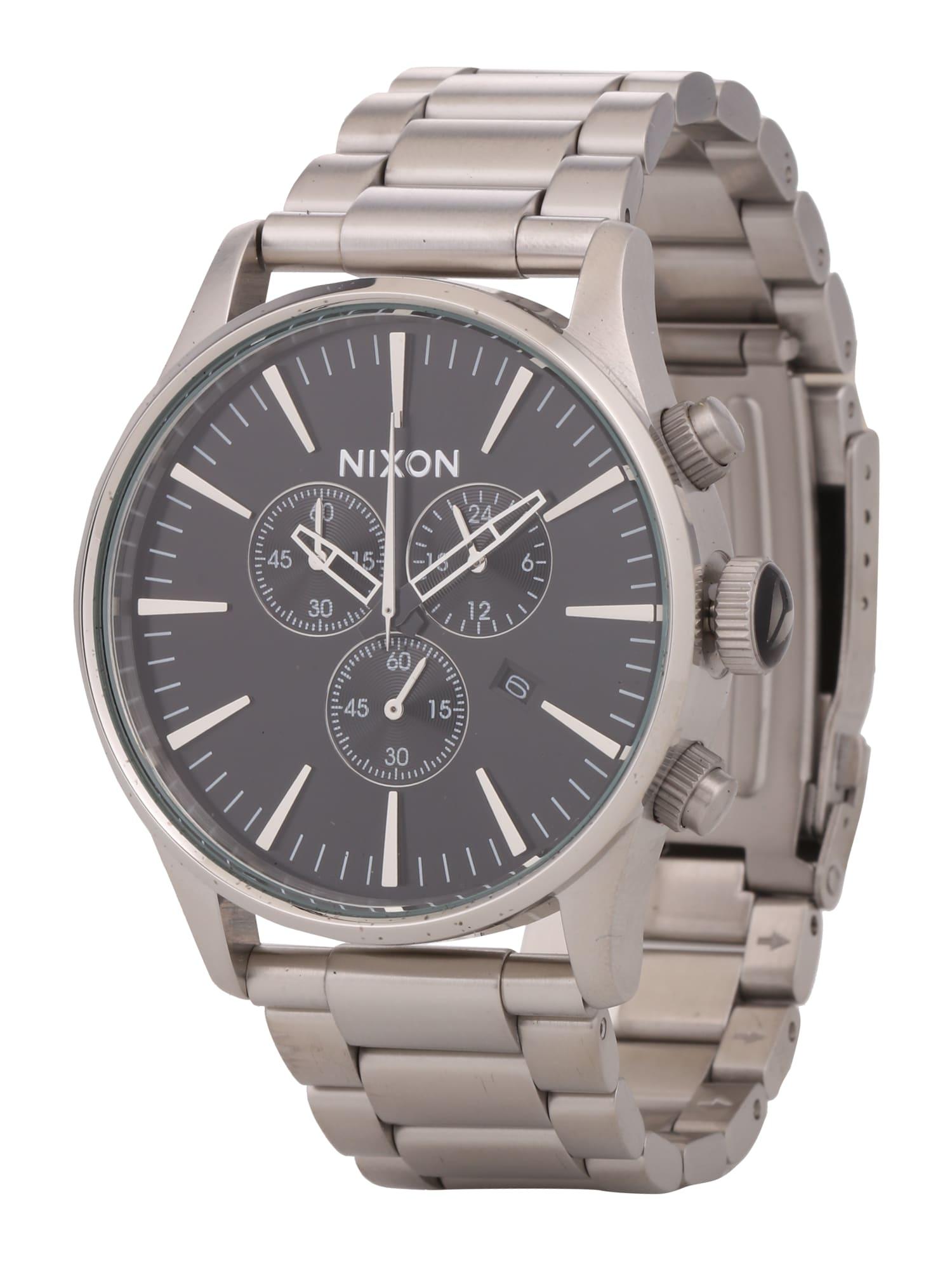 Analogové hodinky Sentry Chrono černá stříbrná Nixon