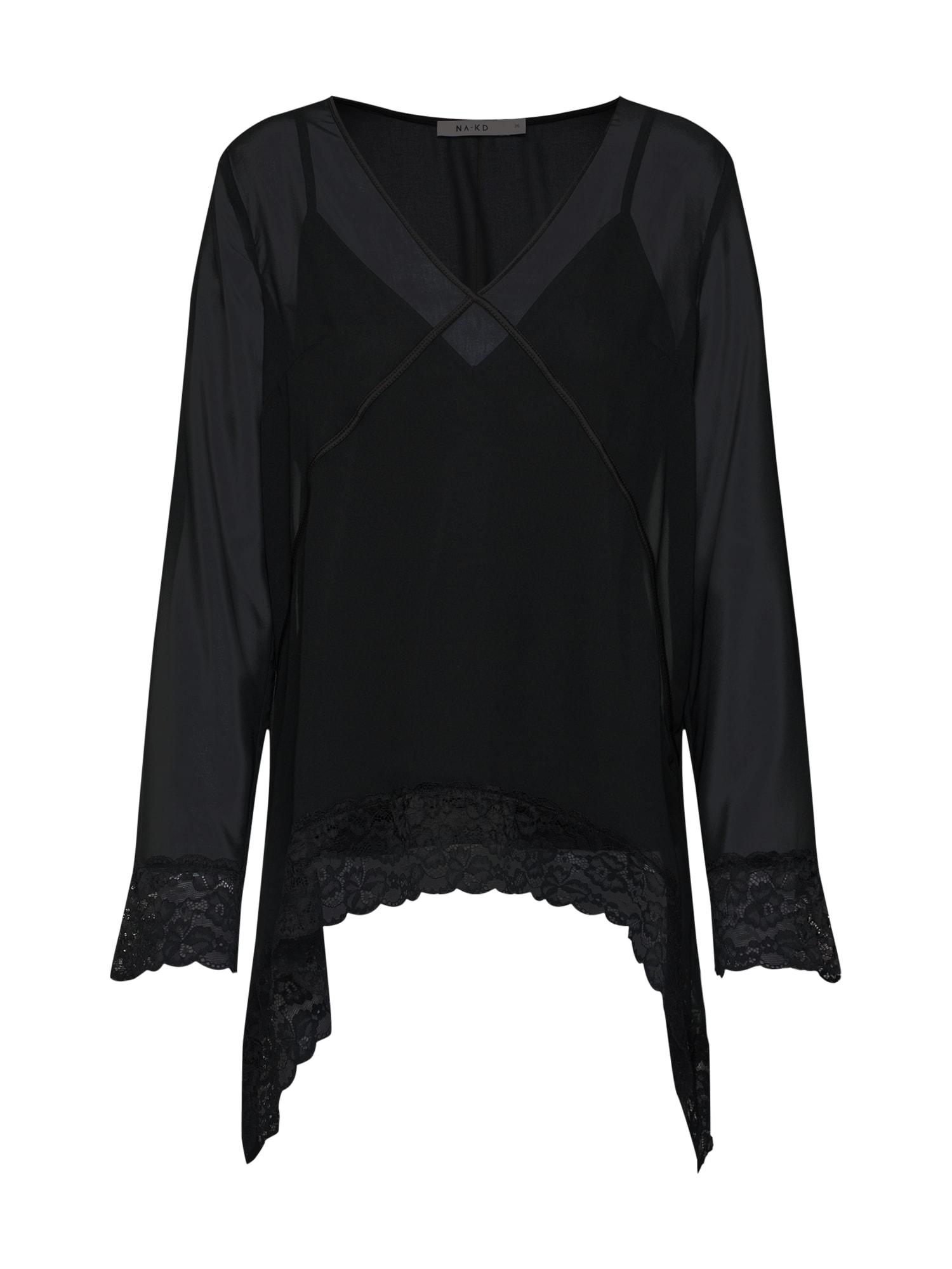 Halenka asymmetric hem lace blouse černá NA-KD