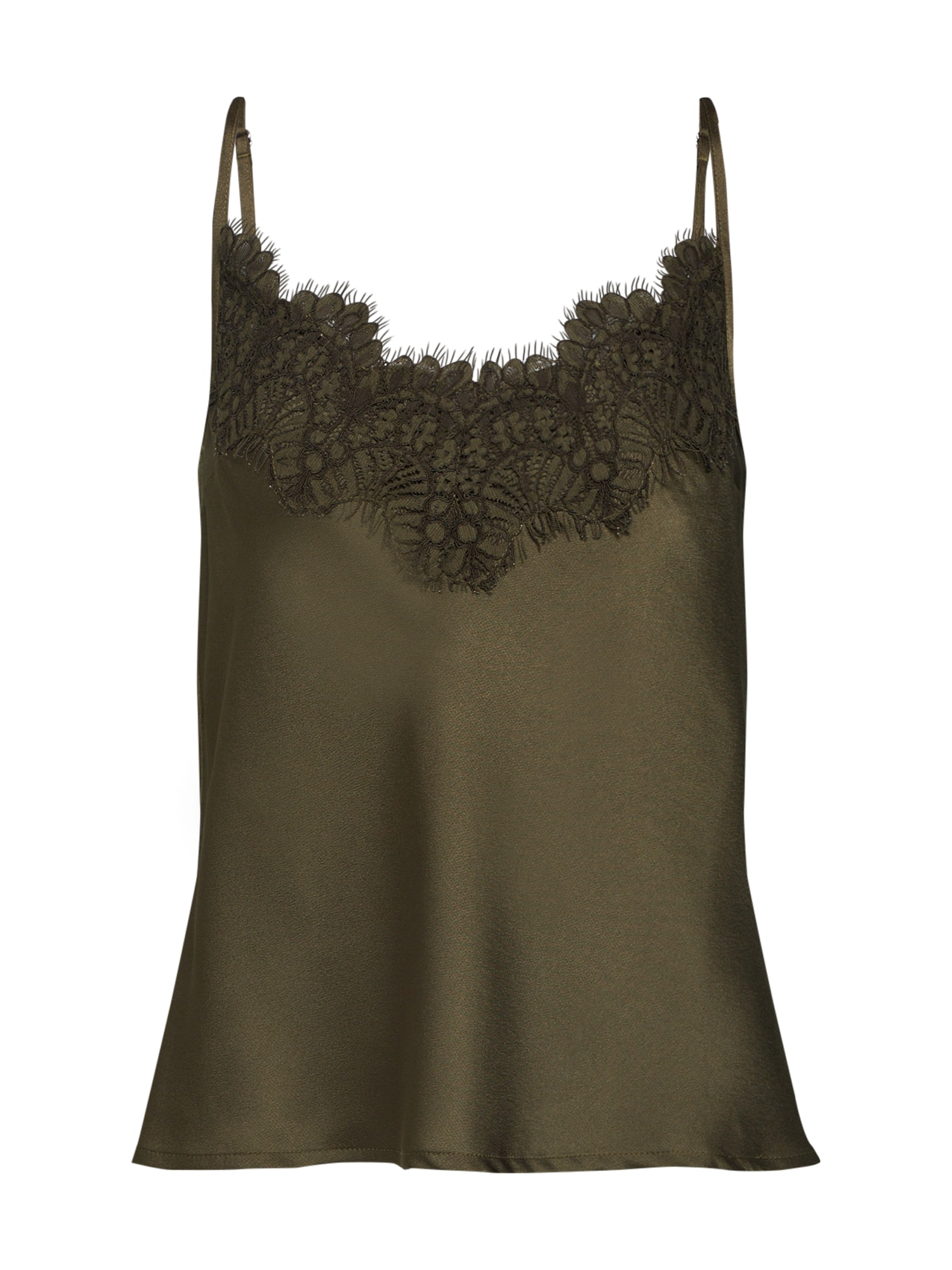 Top EYELASH TRIM LACE CAMI khaki Missguided
