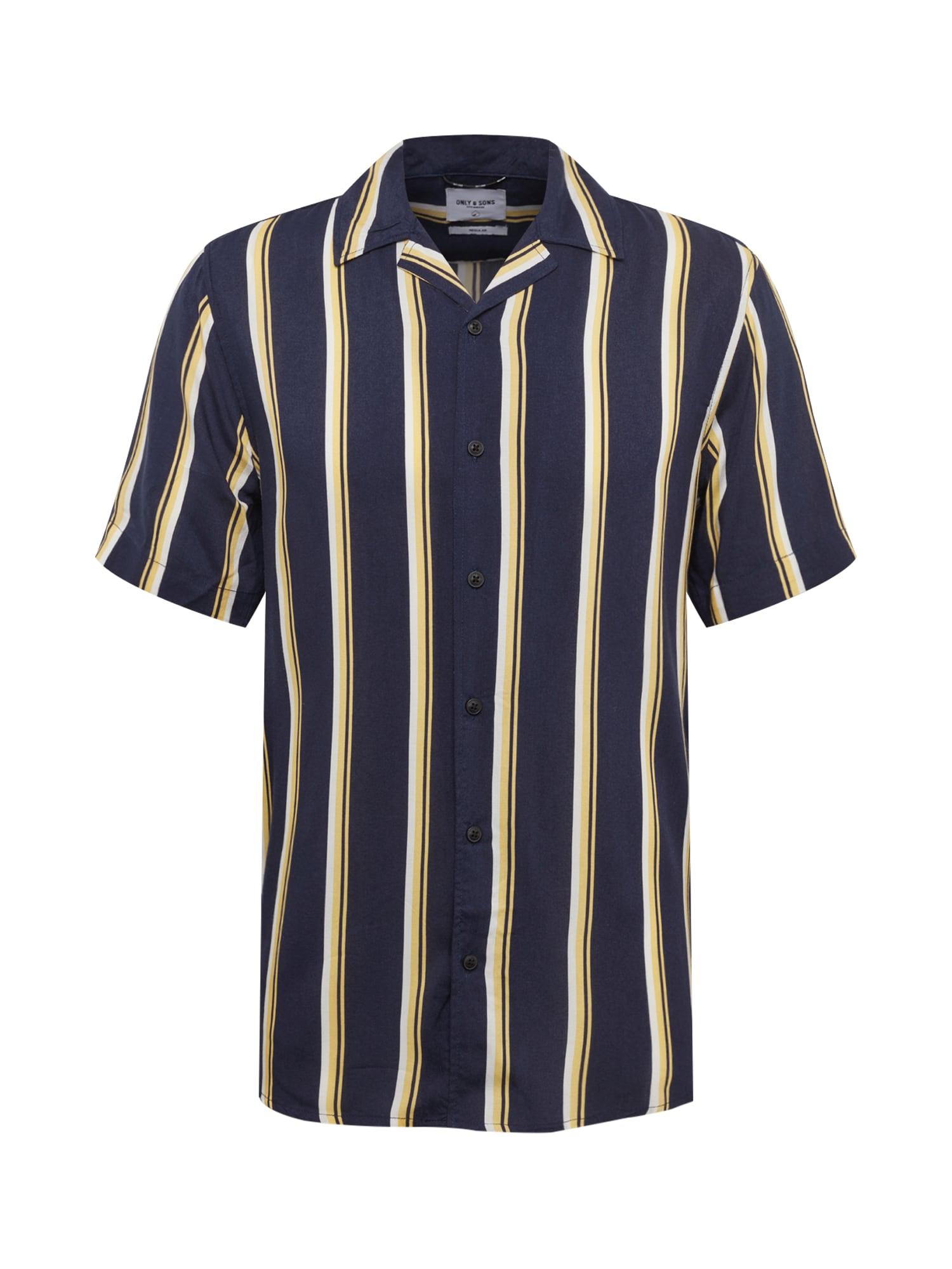 Košile Wayne tmavě modrá žlutá bílá Only & Sons