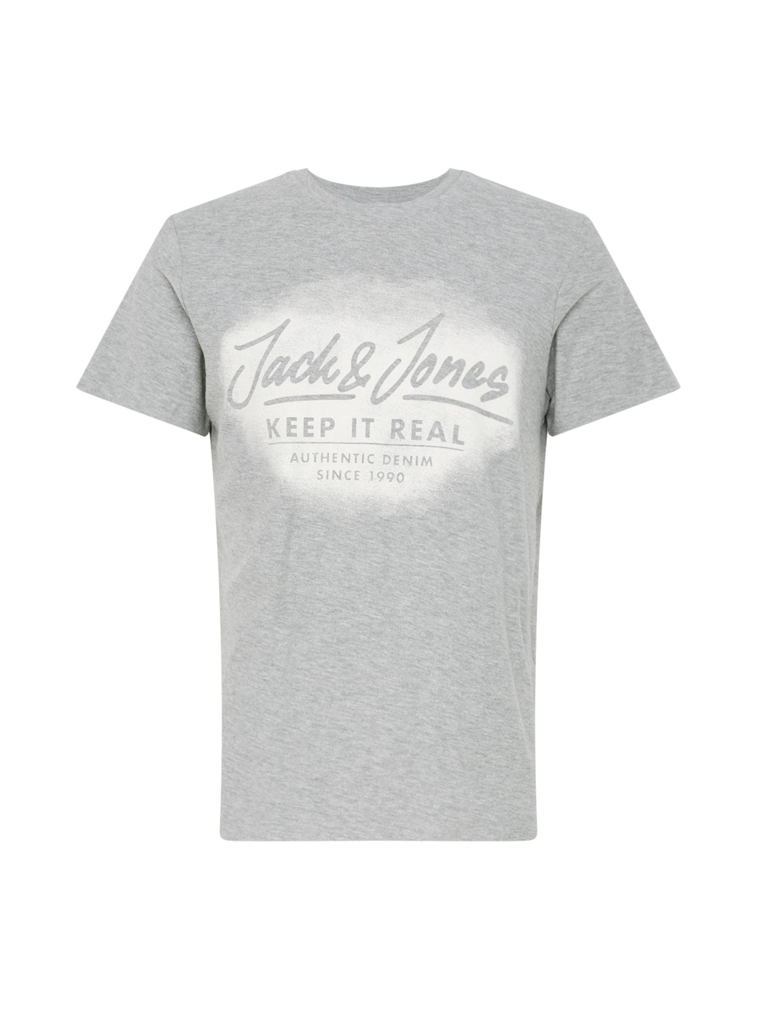 Tričko světle šedá bílá JACK & JONES