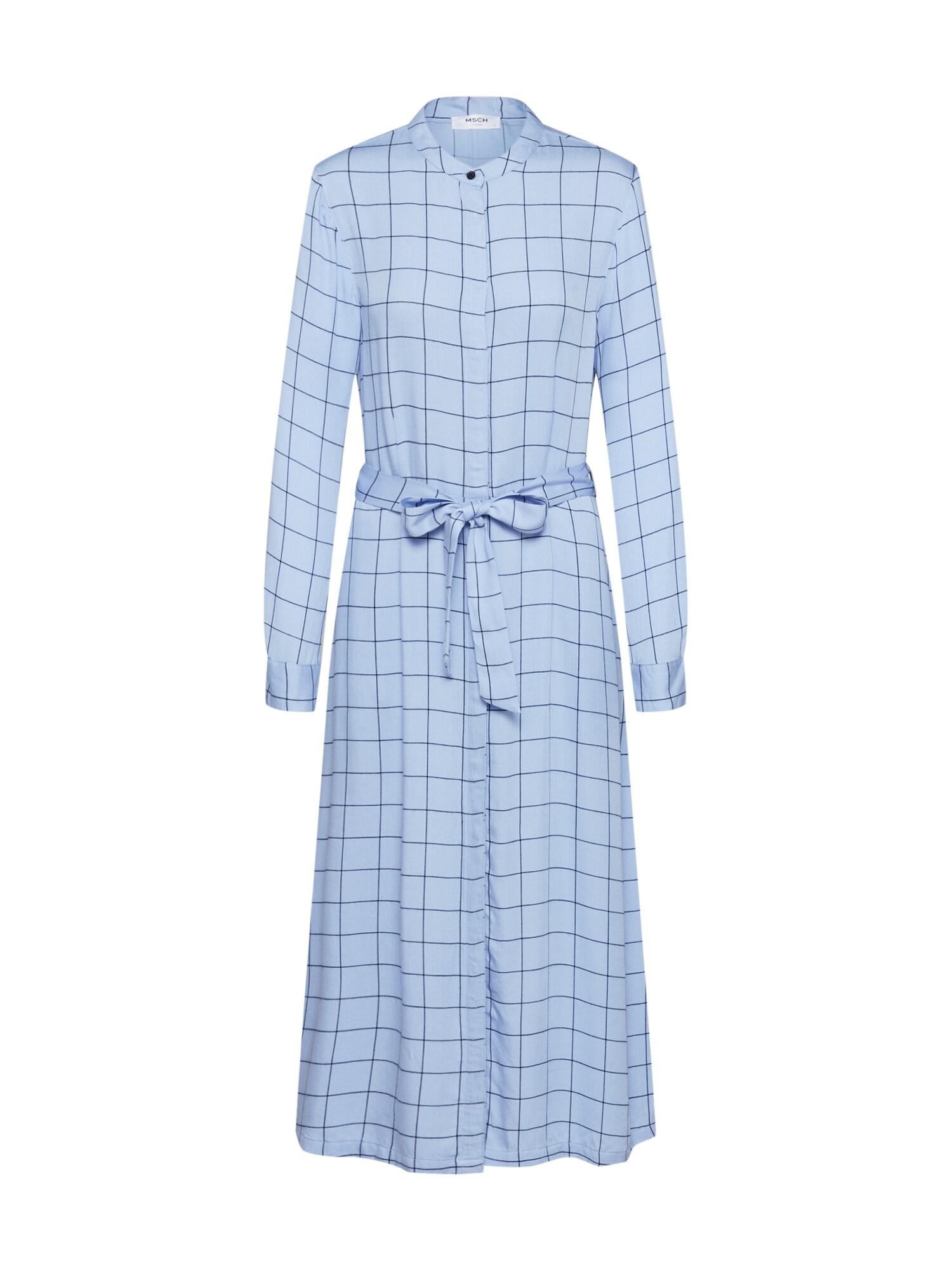 MOSS COPENHAGEN Košeľové šaty 'Meline Alana LS Dress AOP'  modré