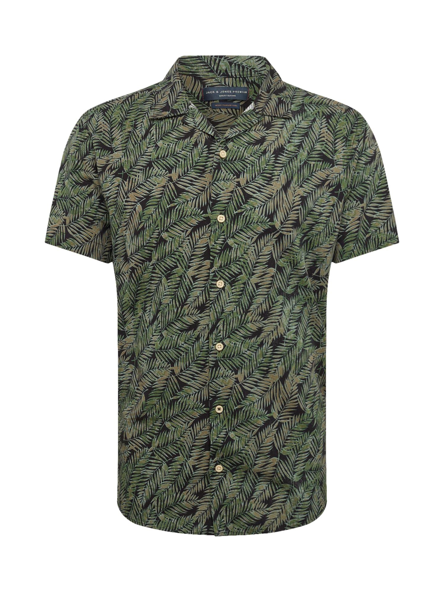 Košile Resort tmavě zelená černá JACK & JONES