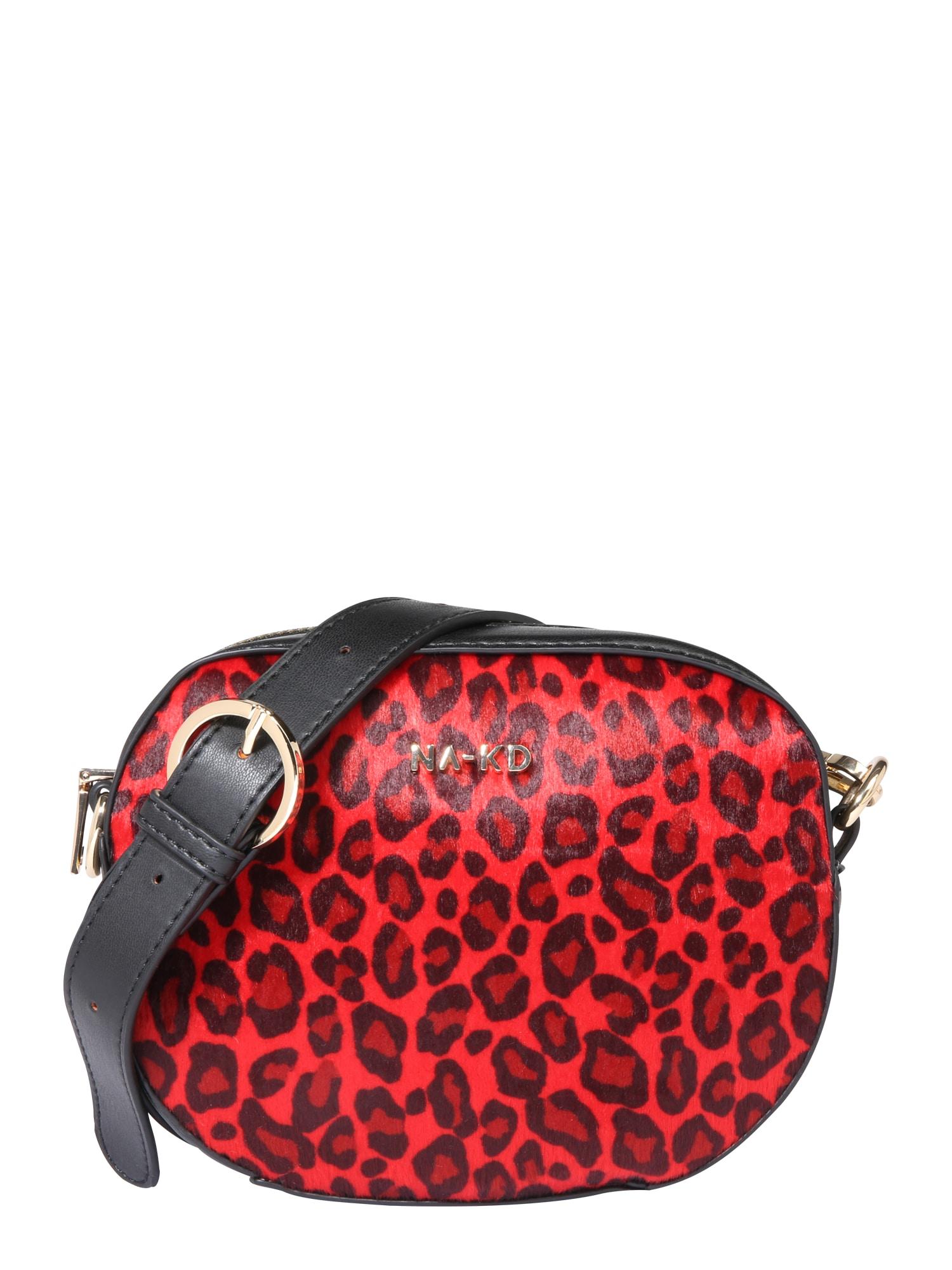 Taška přes rameno leopard crossbody halfmoon bag červená NA-KD