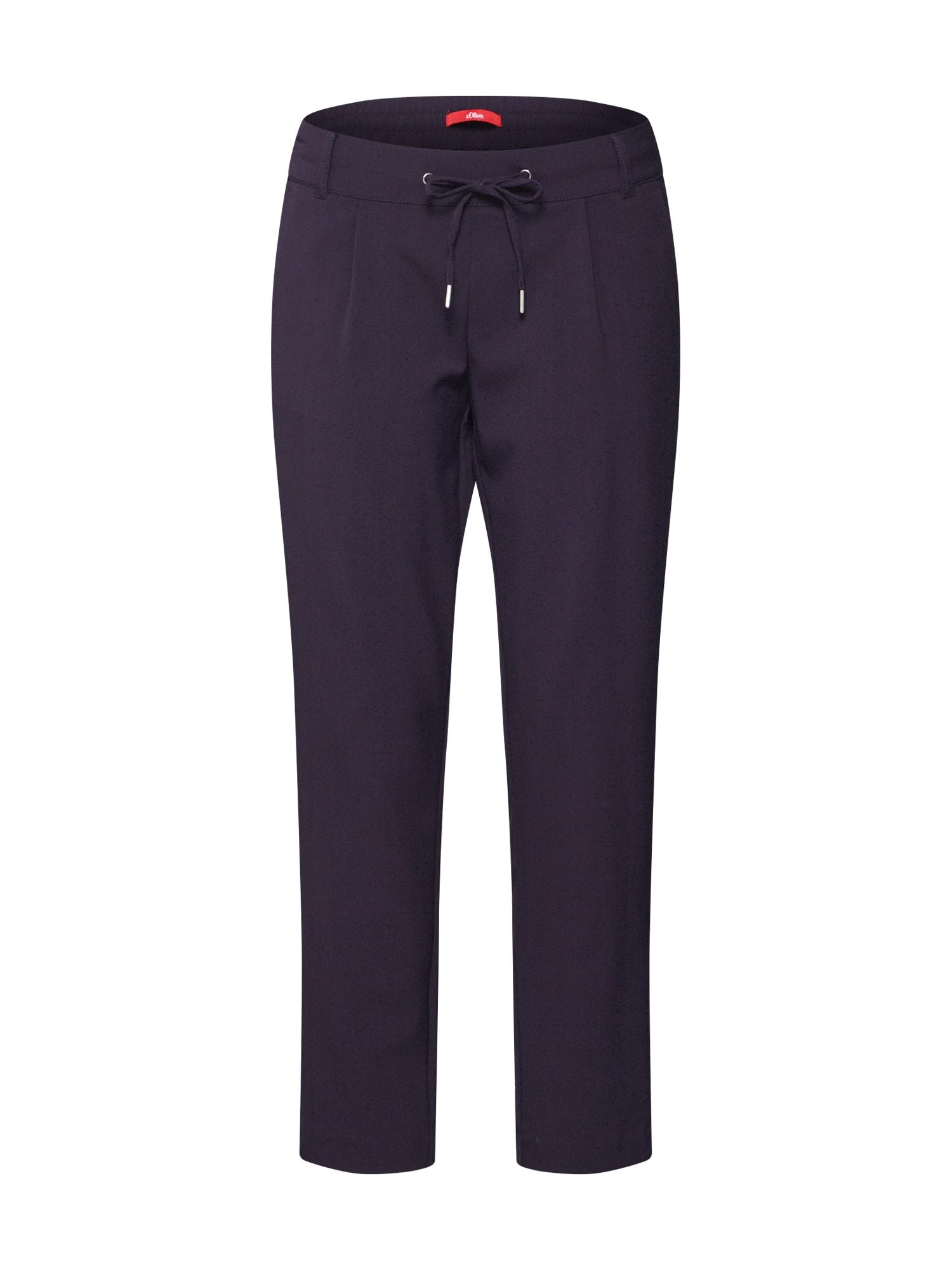 S.Oliver Plisované nohavice  námornícka modrá / biela