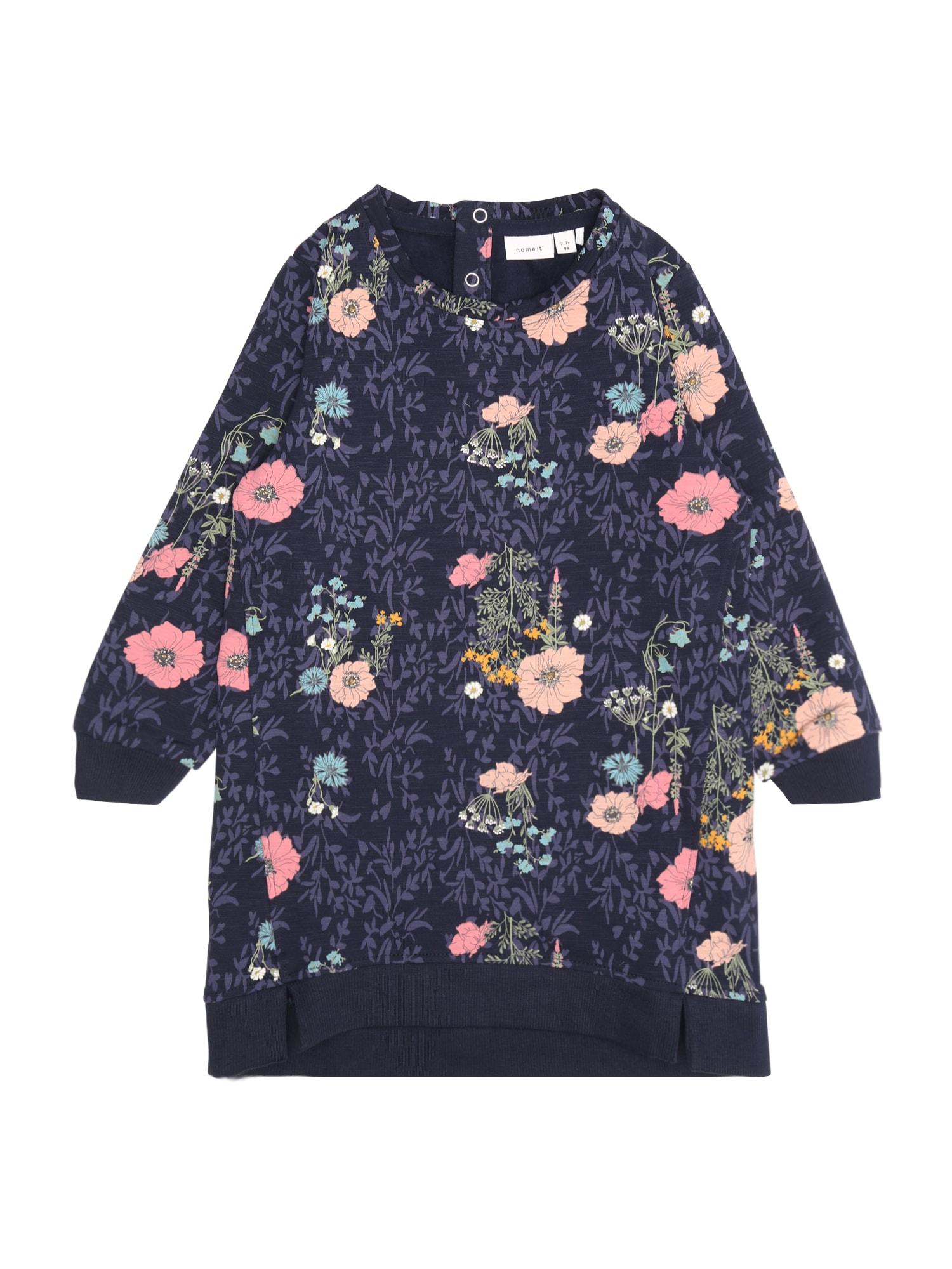 Name it Meisjes Jurk 'NMFOLAN LS SWE DRESS BRU' donkerblauw / rosa