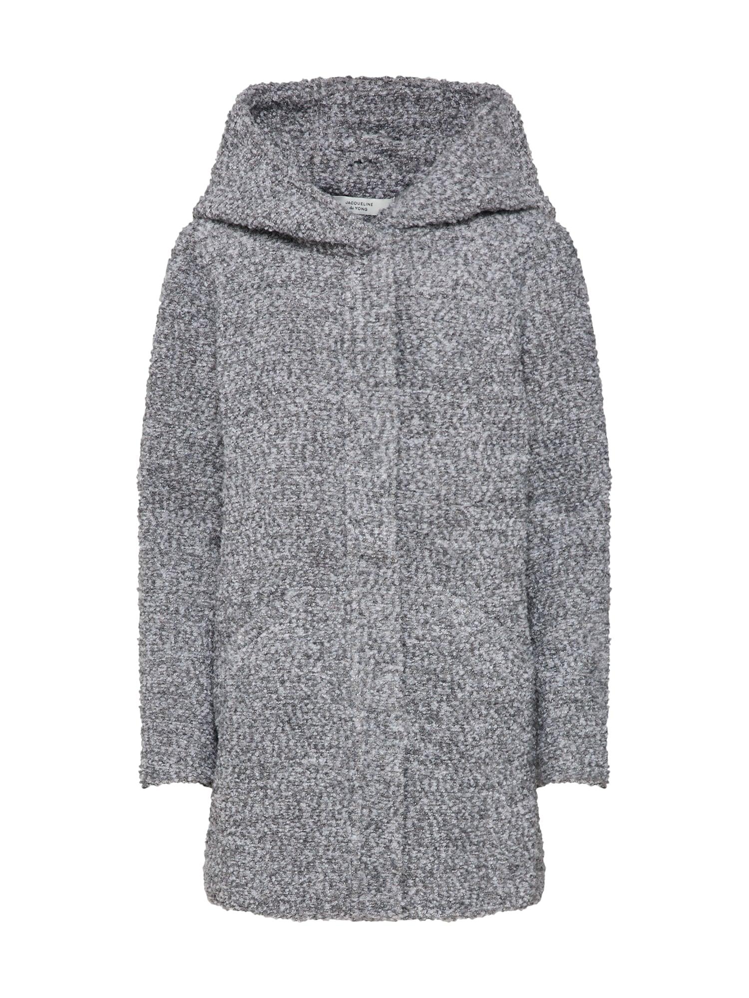 Zimní kabát JDYDEMEA HOOD BOUCLE JACKET světle šedá JACQUELINE De YONG