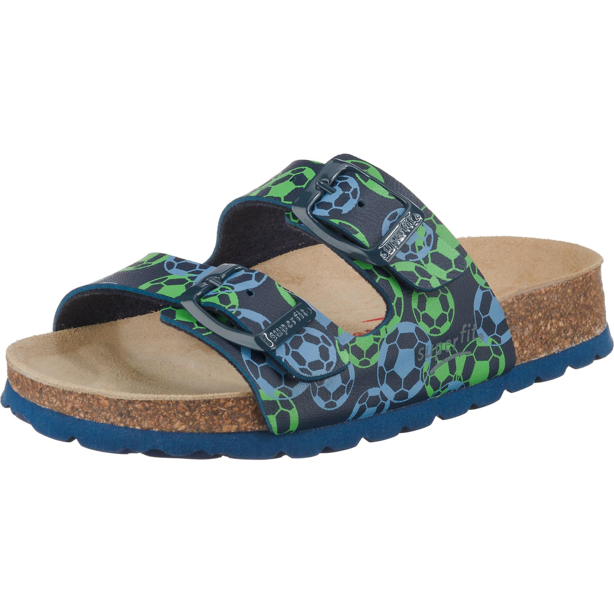 SUPERFIT Otvorená obuv  zelená / modré / svetlomodrá