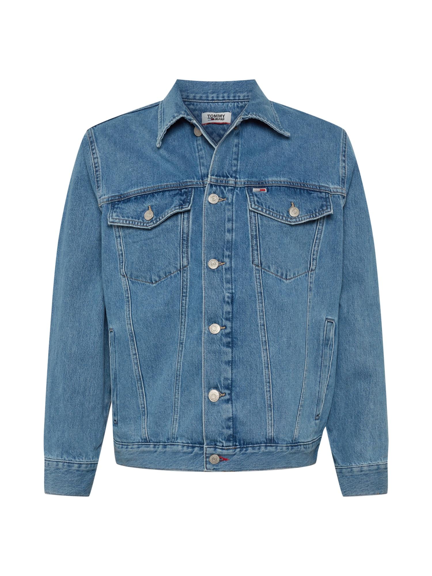 Tommy Jeans Přechodná bunda  modrá džínovina / světle červená / bílá