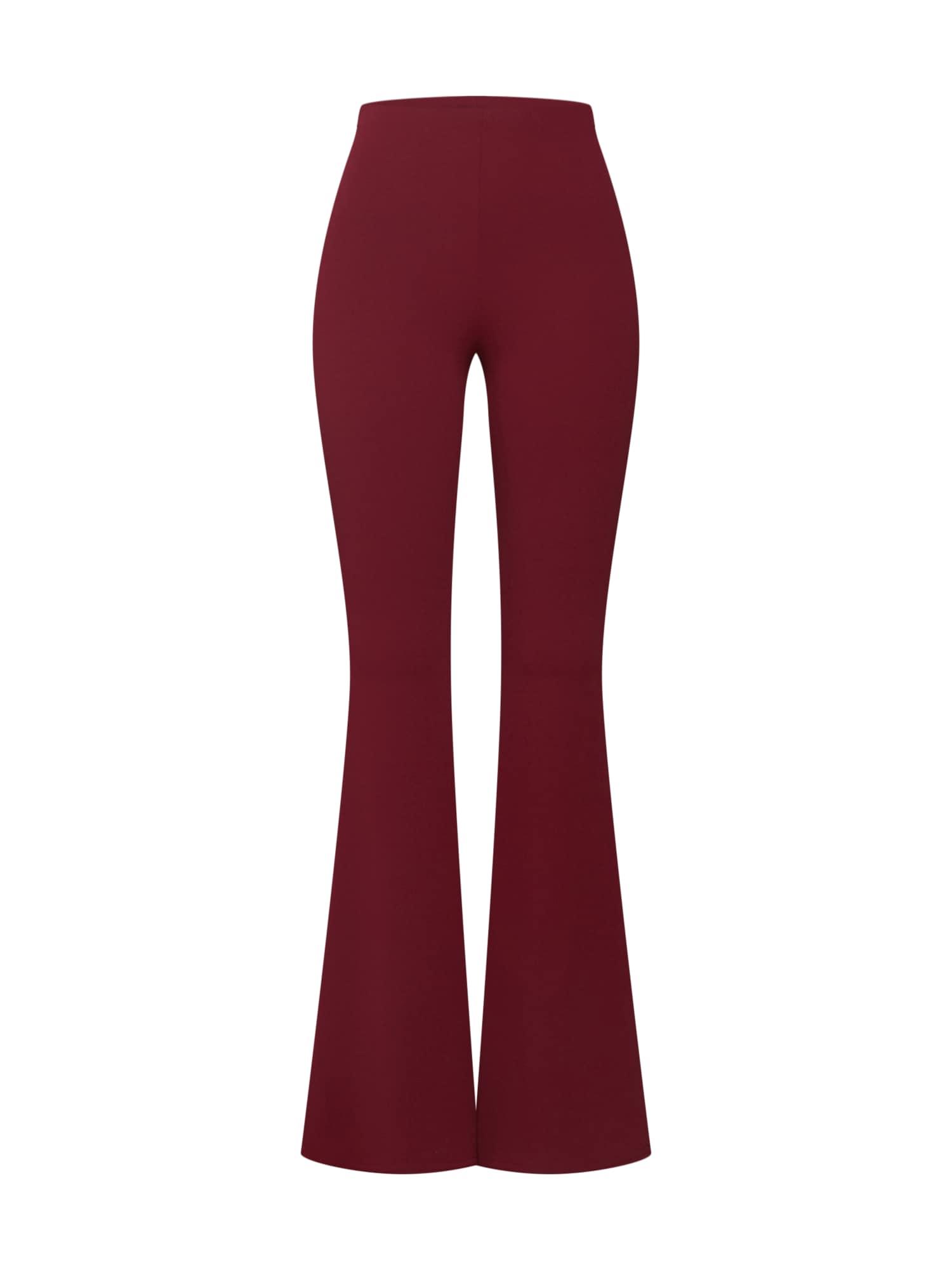Kalhoty STRETCH CREPE FLARE TROUSER burgundská červeň Missguided