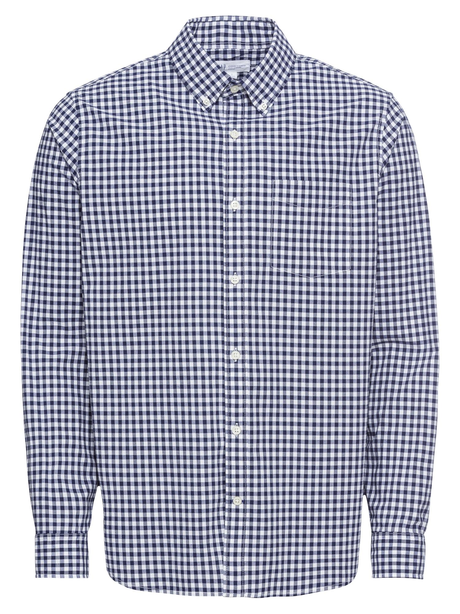 Košile POPLIN ESSENTIALS tmavě modrá bílá GAP