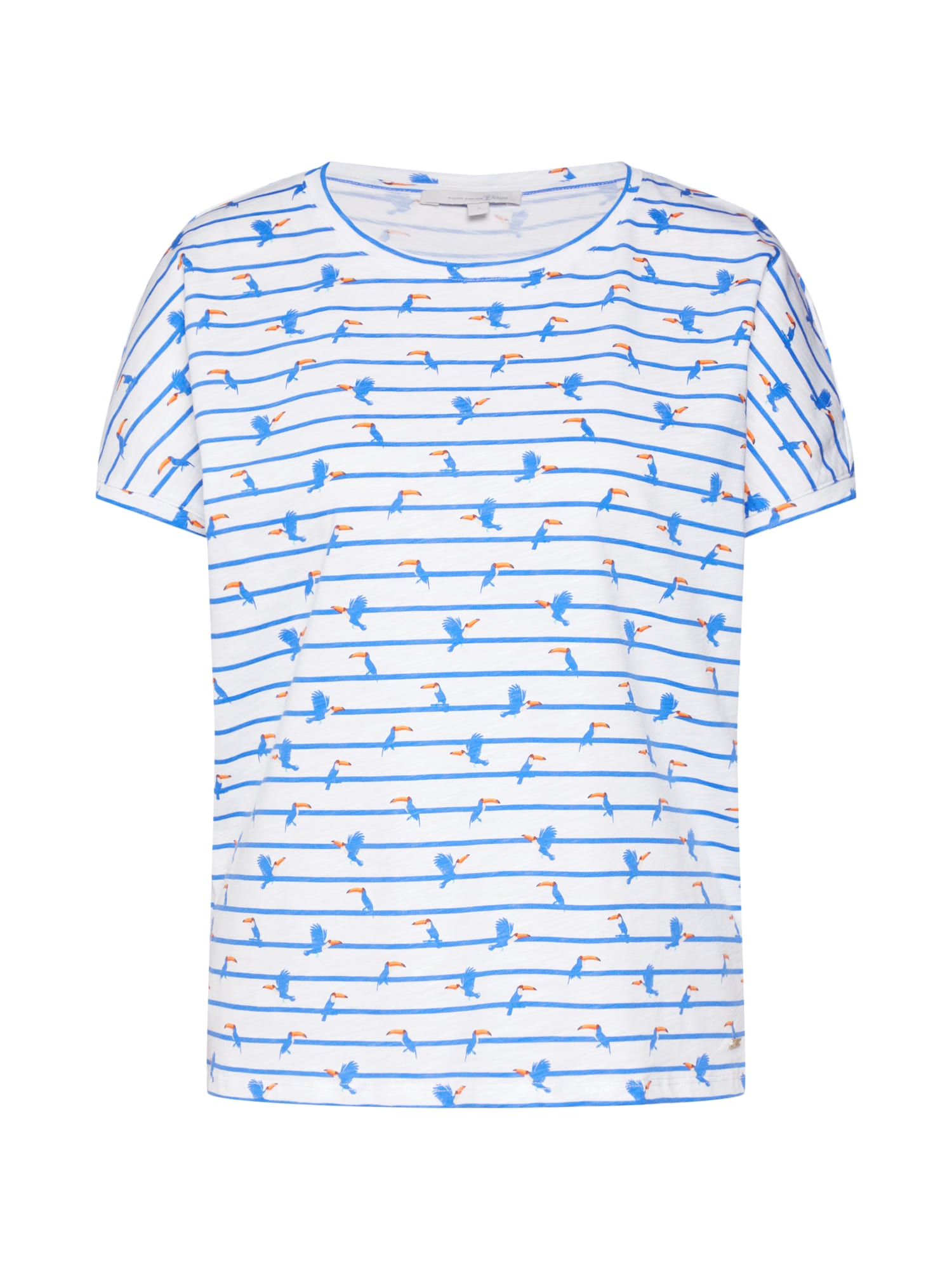 Tričko boxy tee modrá bílá TOM TAILOR DENIM
