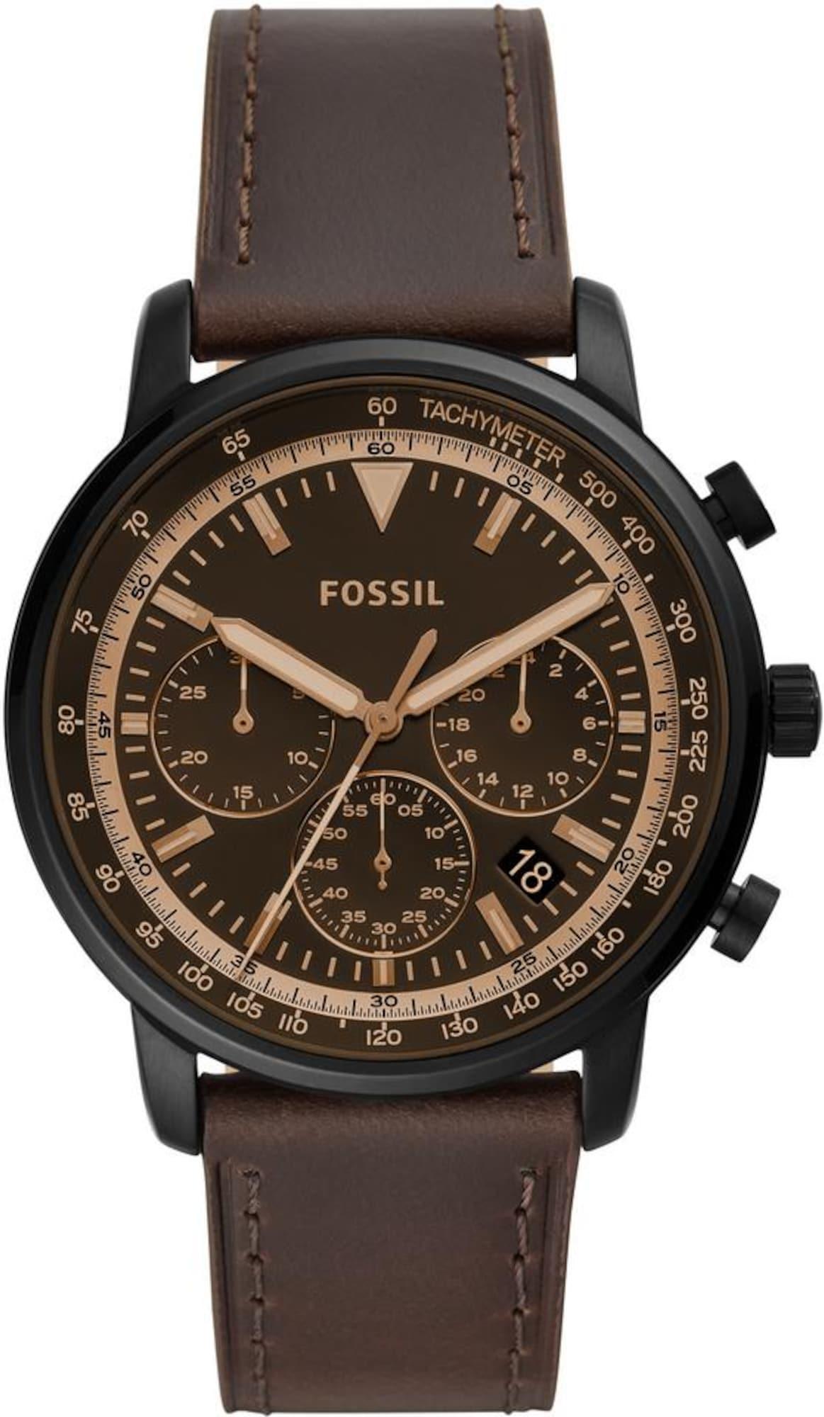 Analogové hodinky Goodwin Chrono FS5529 čokoládová zlatá FOSSIL