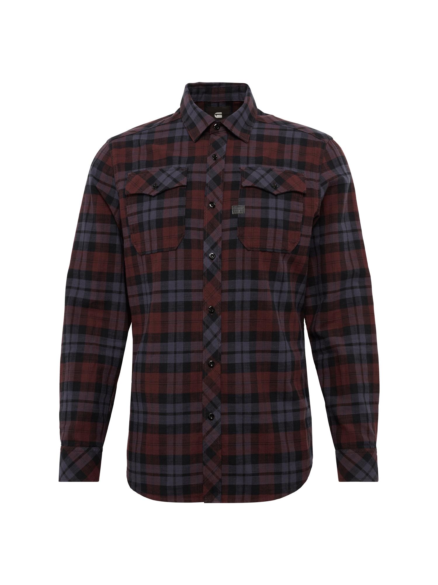 G-STAR RAW Heren Overhemd Landoh Shirt l s donkerblauw wijnrood