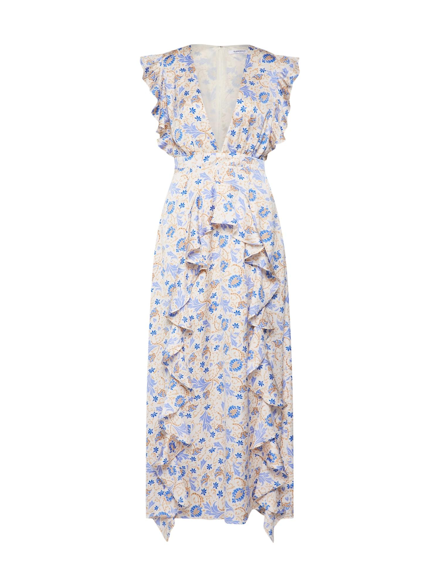 Letní šaty krémová modrá mix barev GLAMOROUS