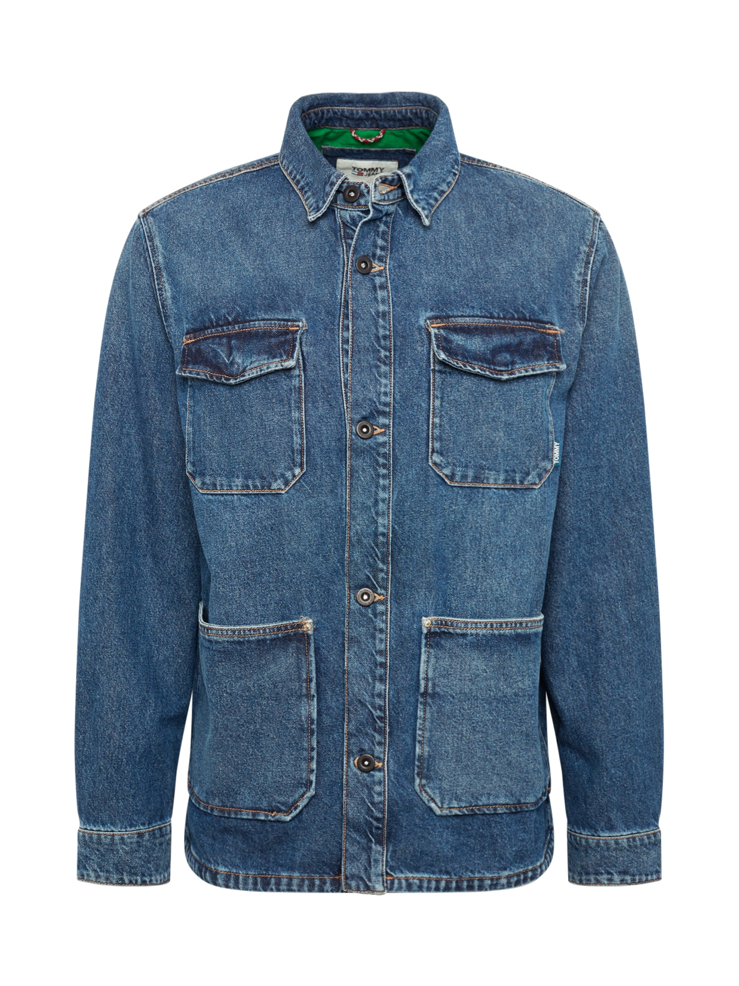 Přechodná bunda CARGO JACKET modrá džínovina Tommy Jeans