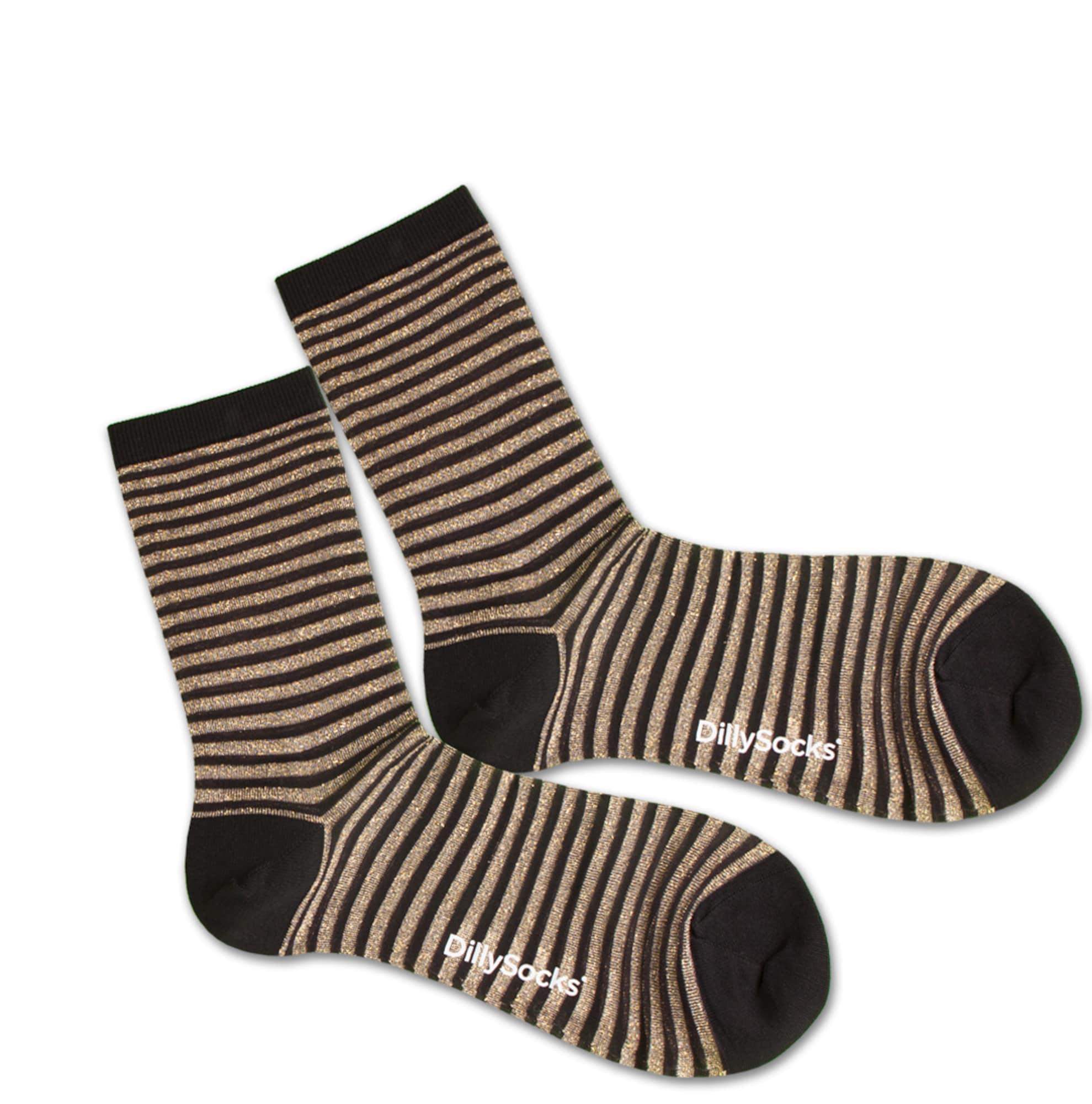Ponožky Sweet Lines zlatá černá průhledná DillySocks