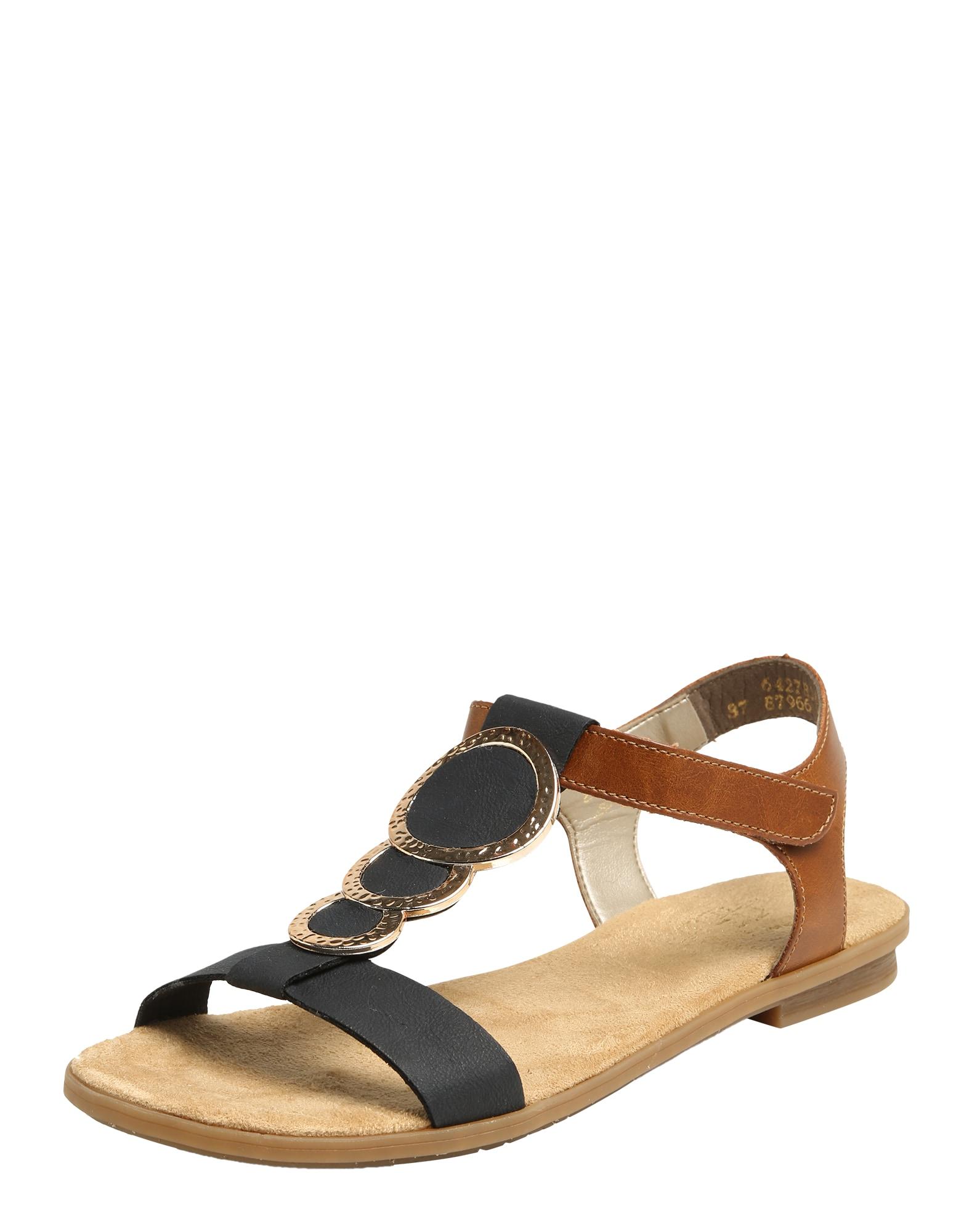 Páskové sandály tmavě modrá hnědá RIEKER