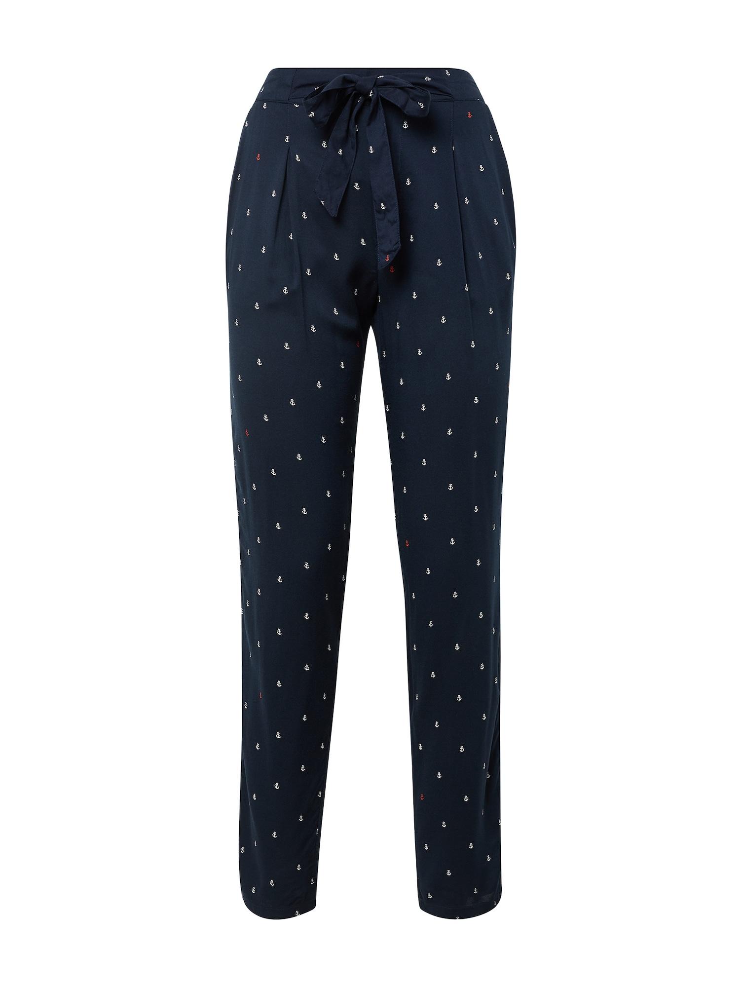 Kalhoty se sklady v pase tmavě modrá TOM TAILOR DENIM