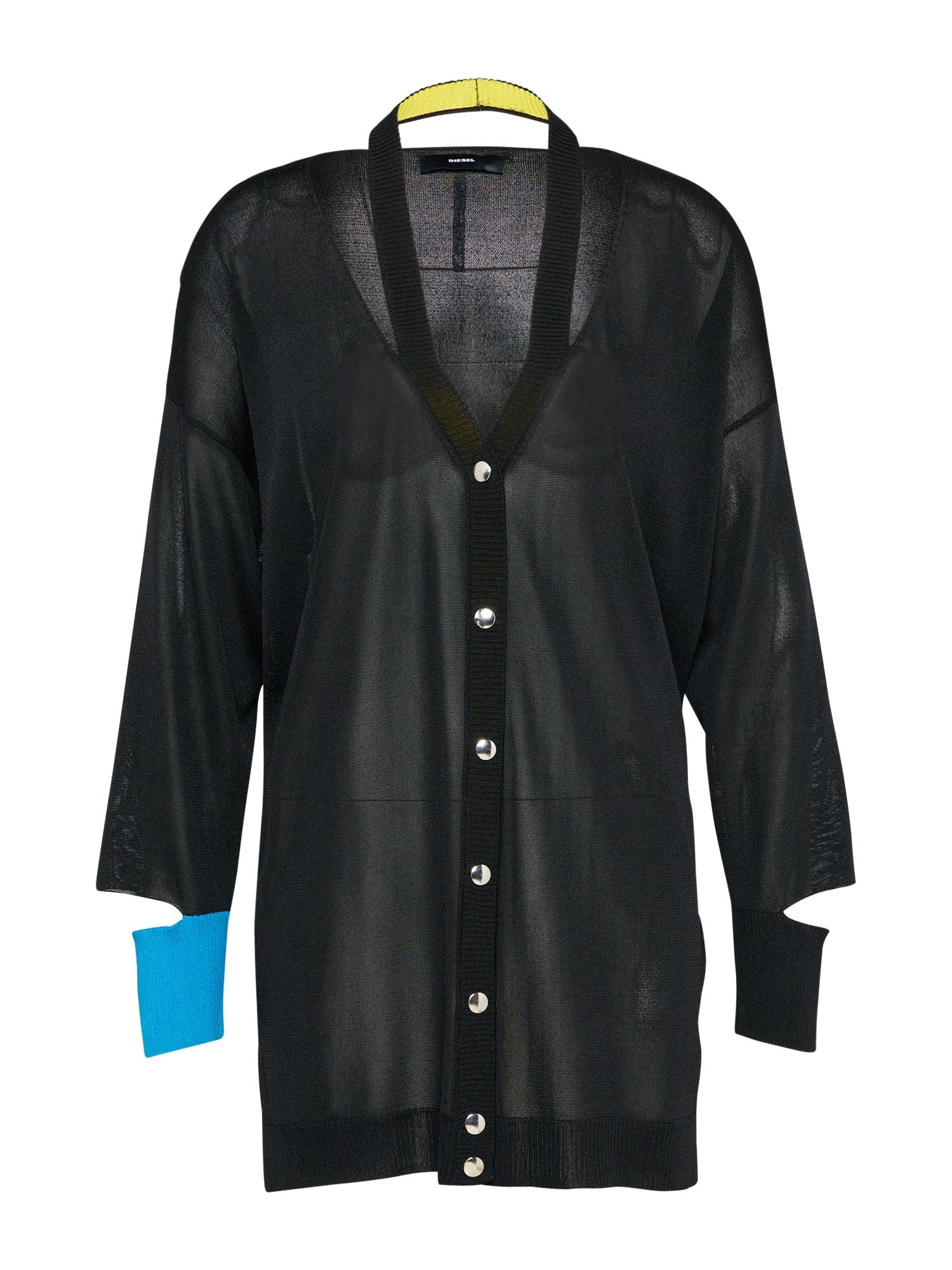 DIESEL Dames Gebreid vest M-FLEAR turquoise zwart
