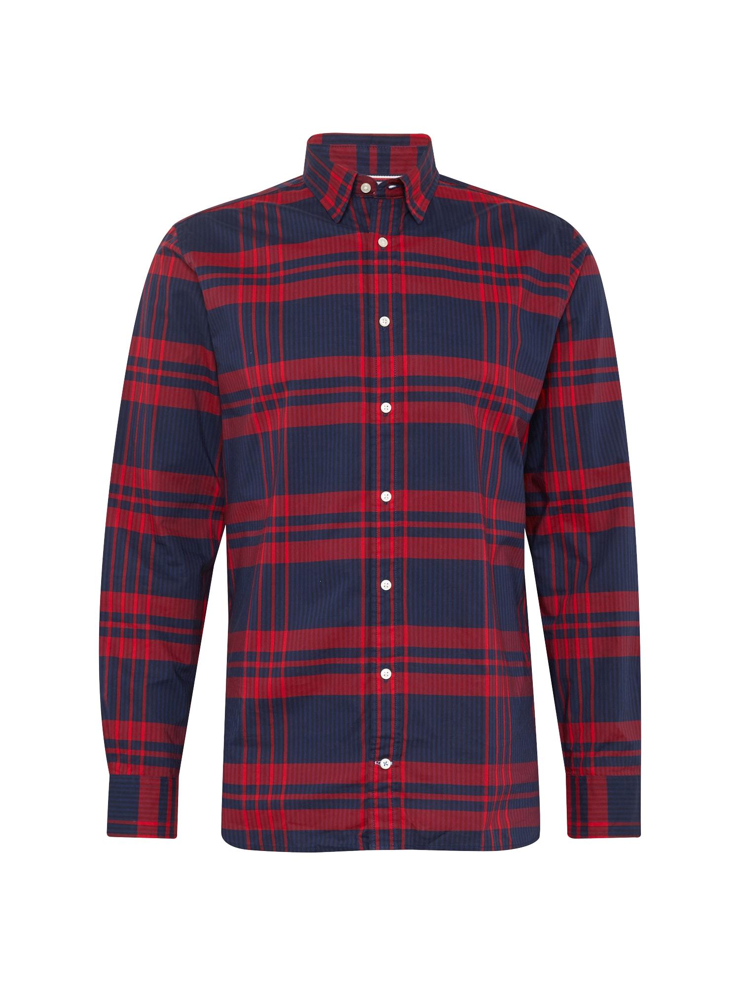 Košile STRIPE CHECK SHIRT tmavě modrá červená TOMMY HILFIGER