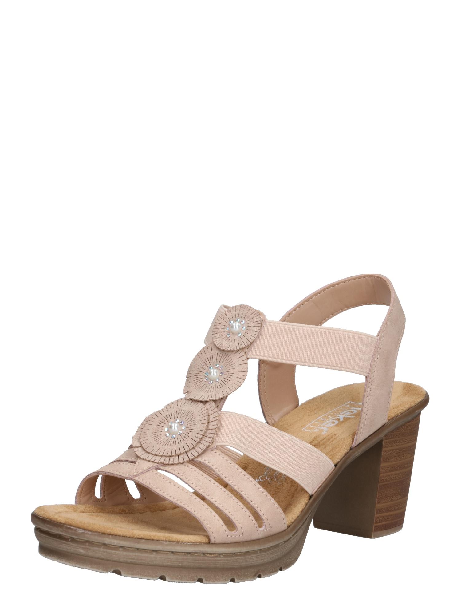 Sandály béžová hnědá růže RIEKER