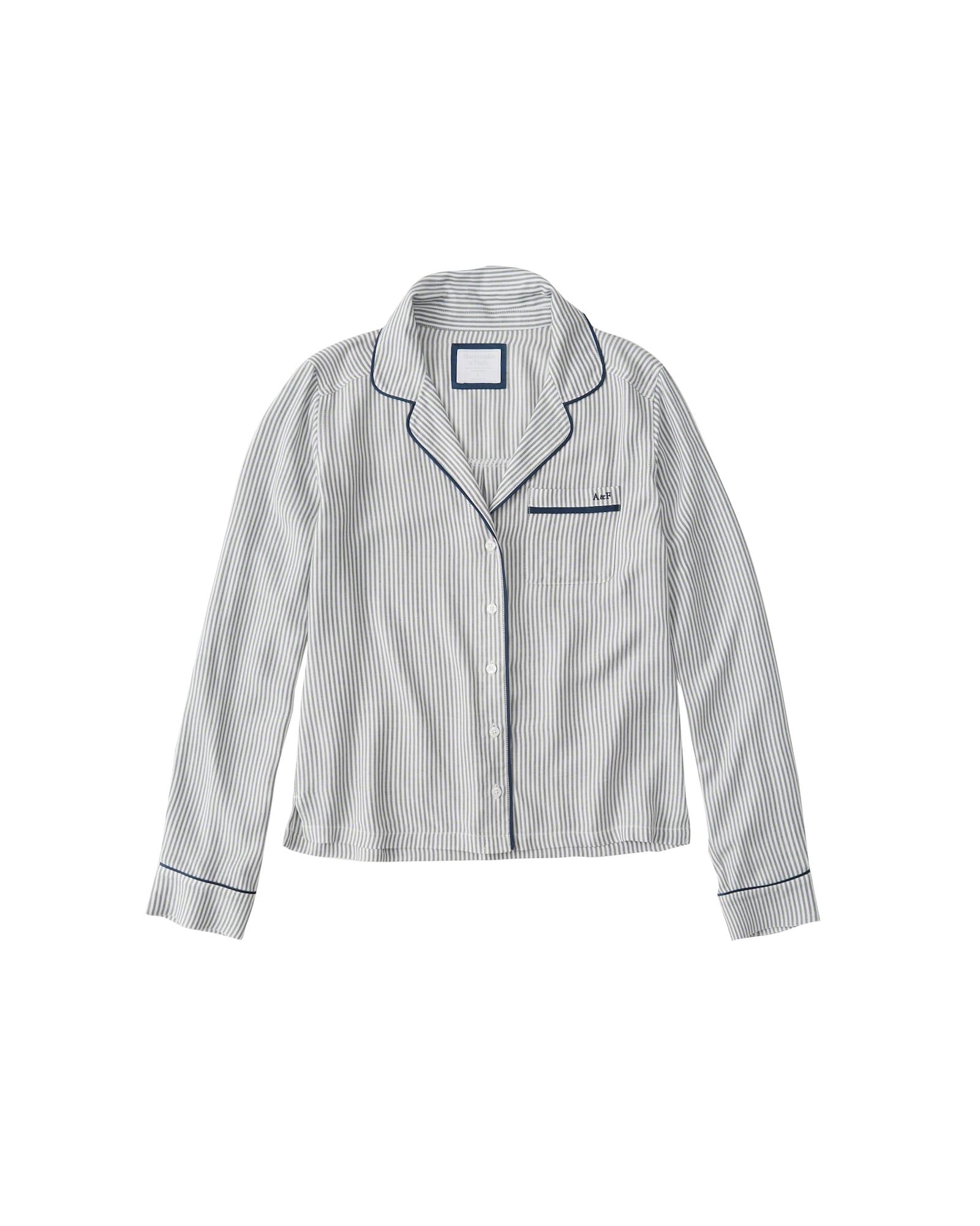 Tričko na spaní MENSWEAR LS SHIRT modrá bílá Abercrombie & Fitch