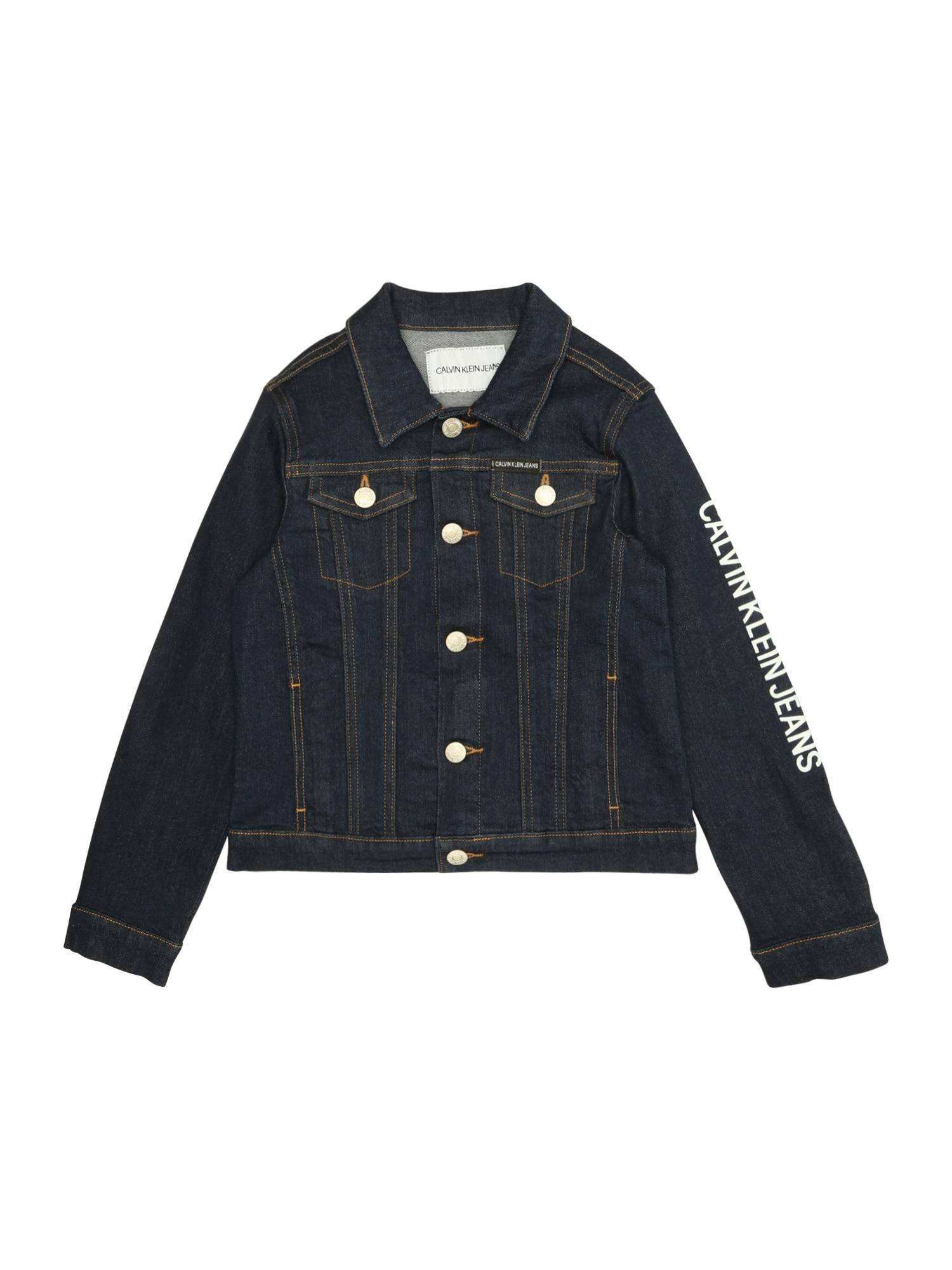 Přechodná bunda GIRLS TRUCKER LOGO RINSE BL STR modrá džínovina Calvin Klein Jeans