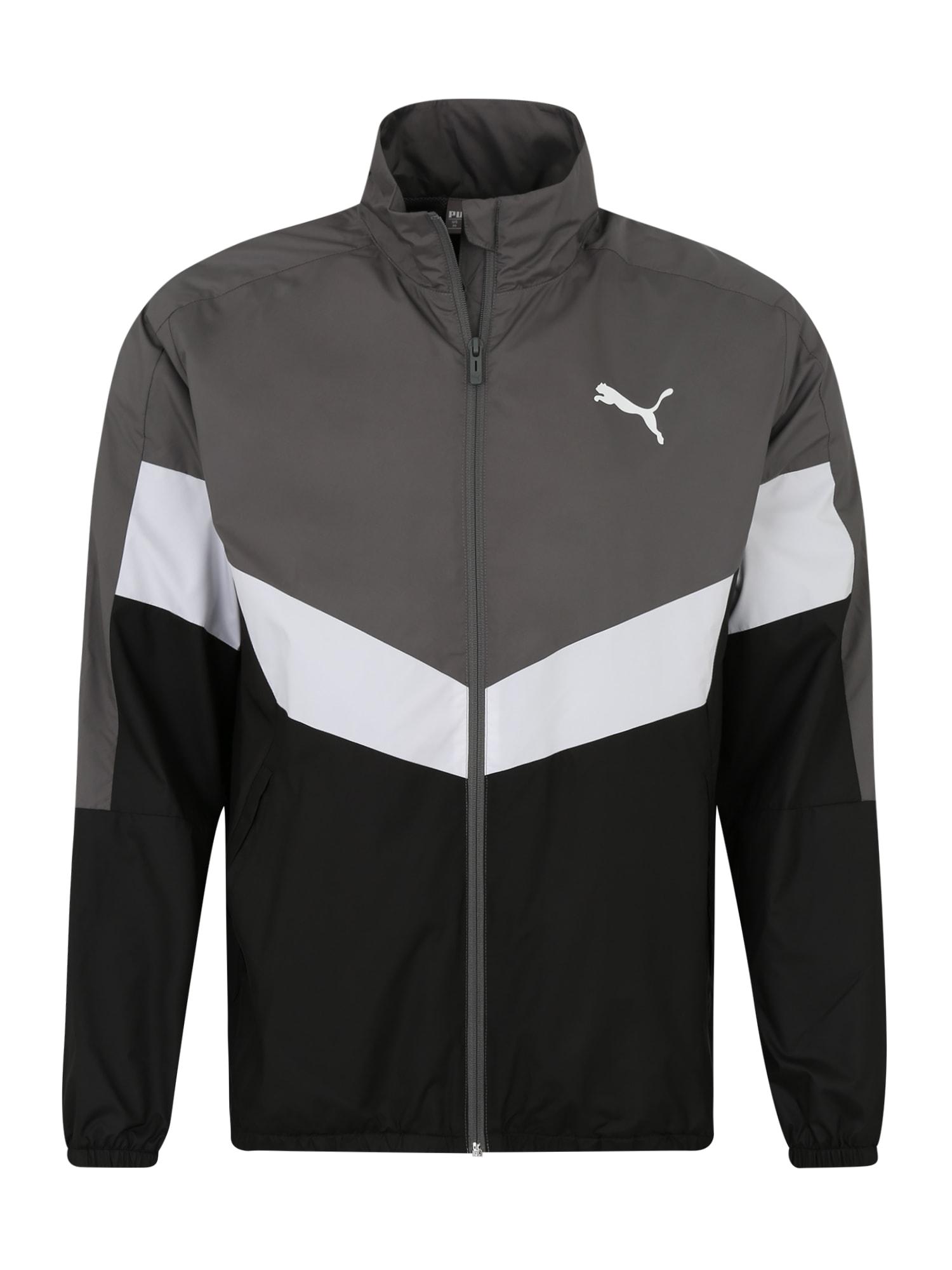 PUMA Športová bunda 'CB Windbreaker'  čierna / sivá / biela