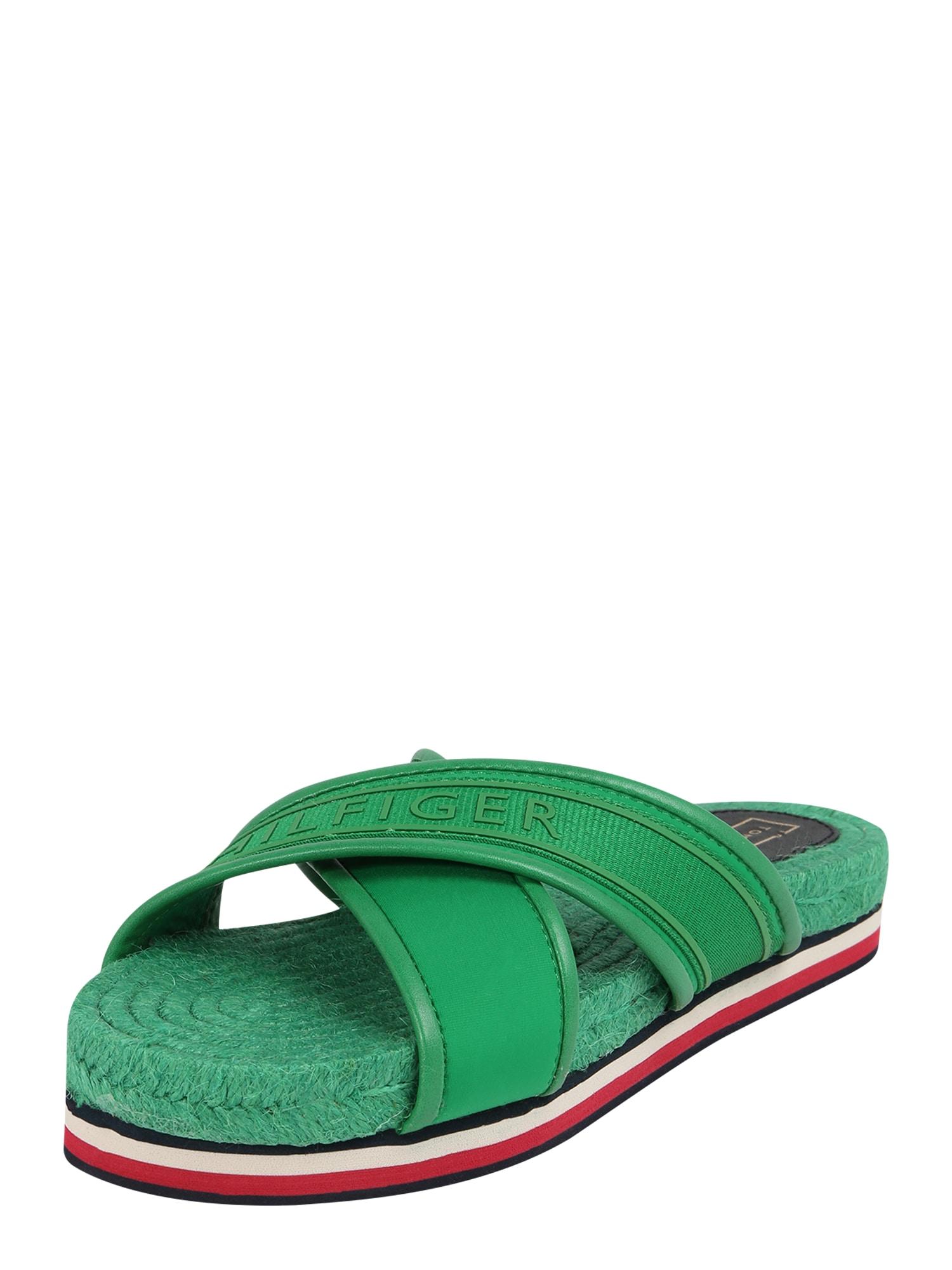 Pantofle zelená TOMMY HILFIGER