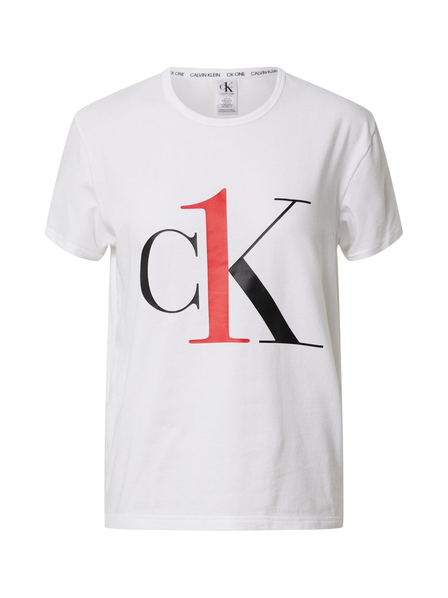 Calvin Klein Underwear Tričko na spaní 'S/S CREW NECK'  černá / bílá / červená